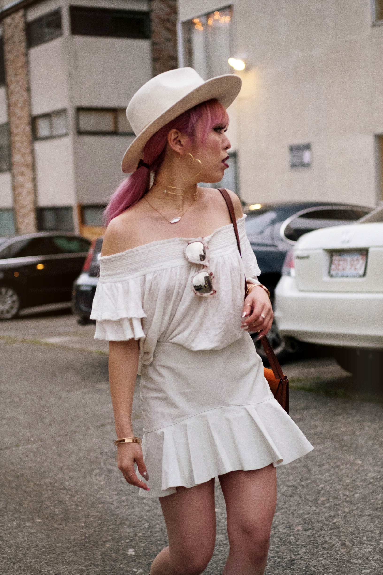 Free People Off the Shoulder top-Zara faux leather mini skirt-lack of color white fedora-free people mirrored sunglasses-chloe mini faye suede bag-daniel wellington watch-milani black cherry lipstick-asos lace up point toe pumps python print-aika's love closet-seattle fashion style blogger-japanese-pink hair 7