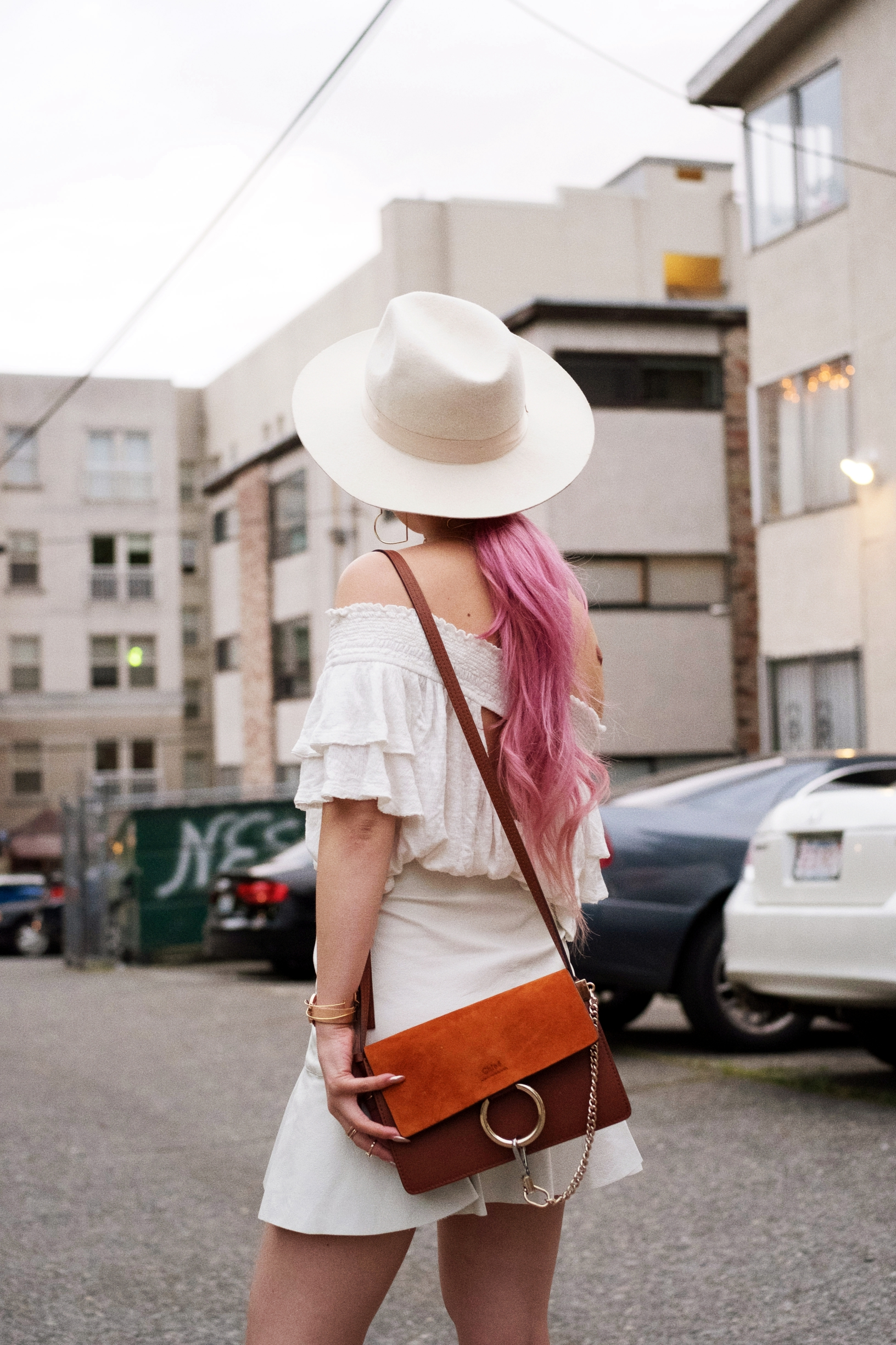 Free People Off the Shoulder top-Zara faux leather mini skirt-lack of color white fedora-free people mirrored sunglasses-chloe mini faye suede bag-daniel wellington watch-milani black cherry lipstick-asos lace up point toe pumps python print-aika's love closet-seattle fashion style blogger-japanese-pink hair 13