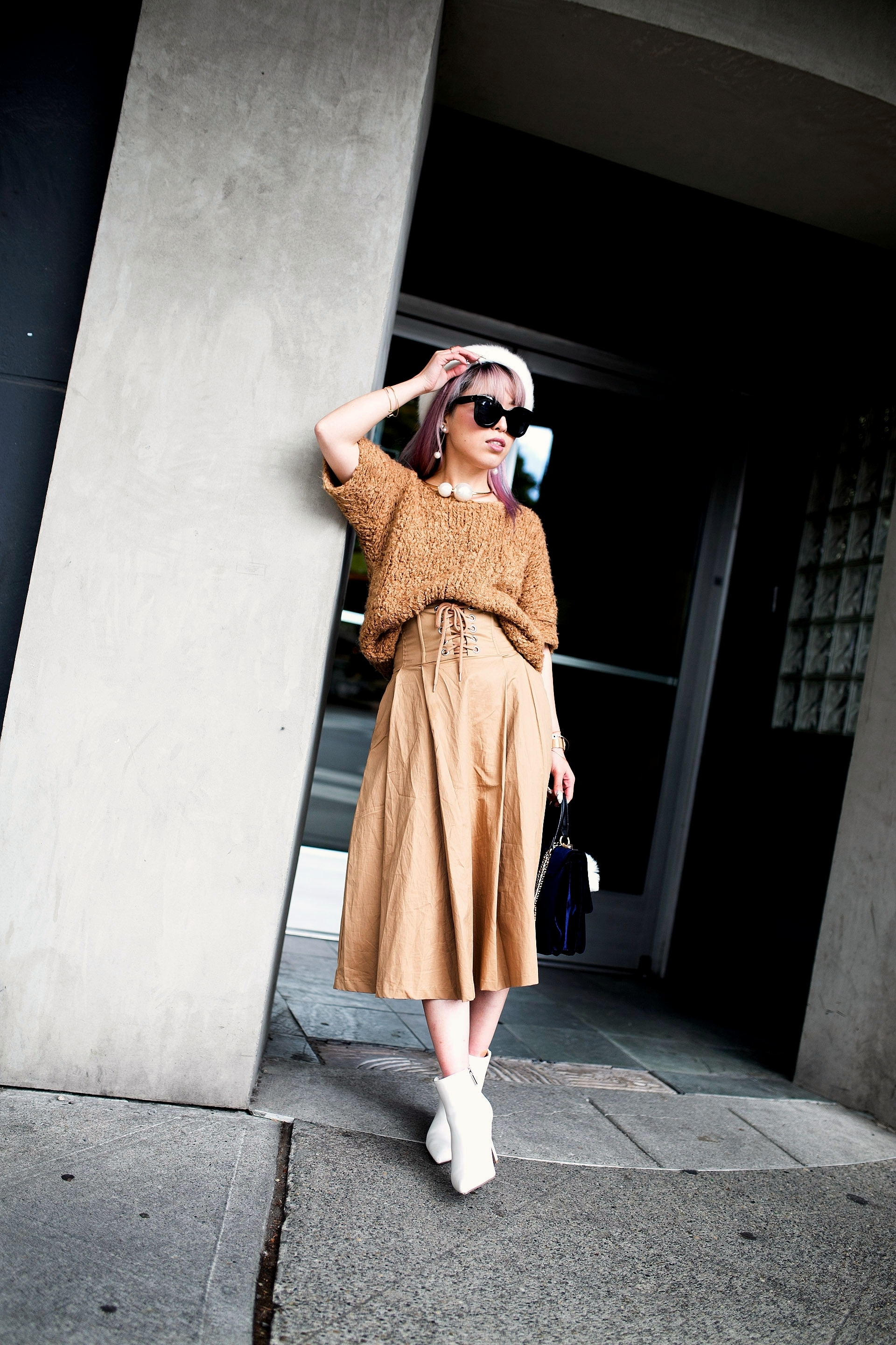 Forever 21 Fluffy White Beret, Express Pearl Collar Necklace, Thrifted Teddy Camel Top, H&M High-waisted camel midi skirt, zara velvet bag, Forever 21 White Ankle Boots, Aika's Love Closet, Seattle Fashion Style Blogger, Japanese, pink hair, street style, petite fashion  2
