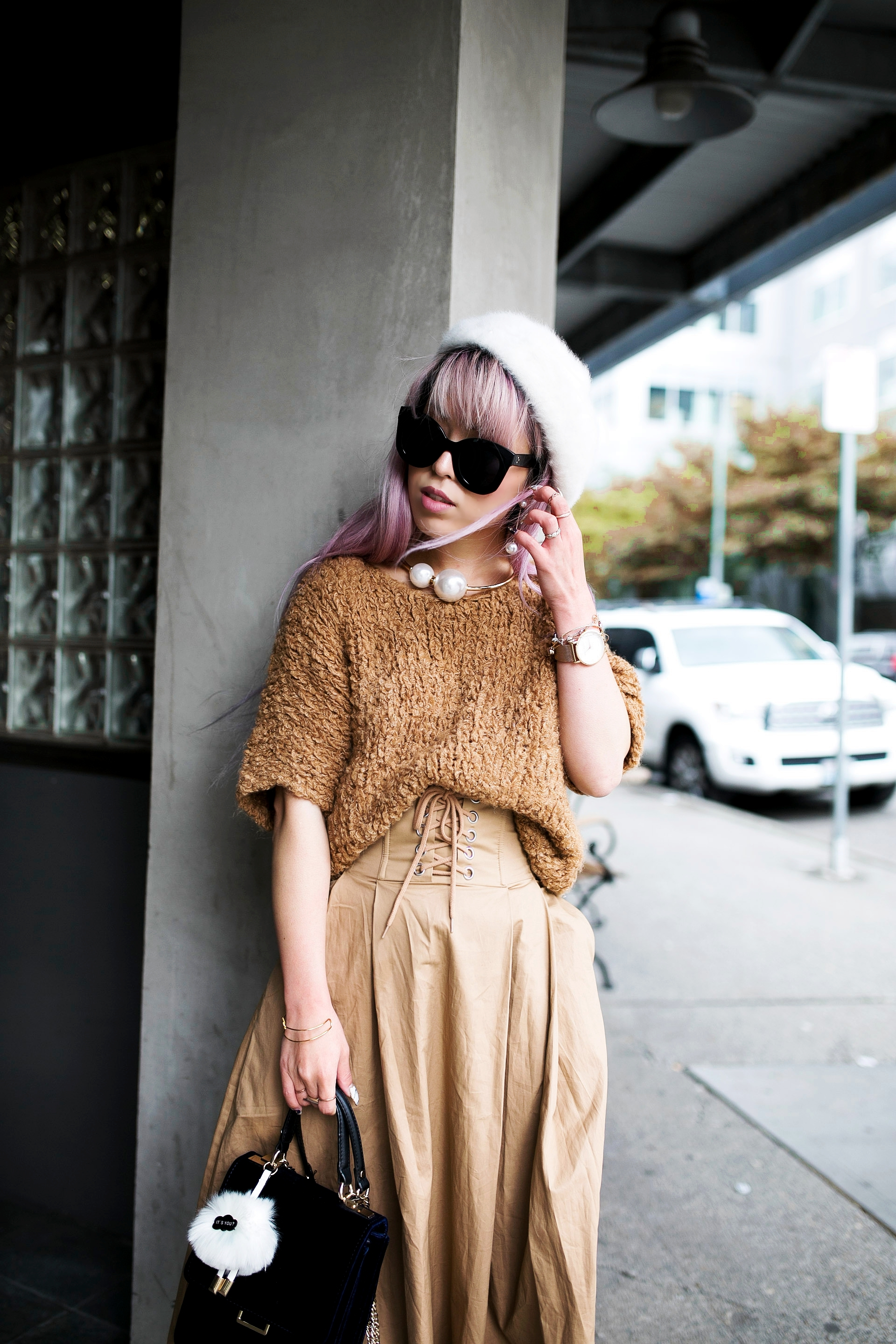 2L6A7828.jpgForever 21 Fluffy White Beret, Express Pearl Collar Necklace, Thrifted Teddy Camel Top, H&M High-waisted camel midi skirt, zara velvet bag, Forever 21 White Ankle Boots, Aika's Love Closet, Seattle Fashion Style Blogger, Japanese, pink hair, street style, petite fashion  8