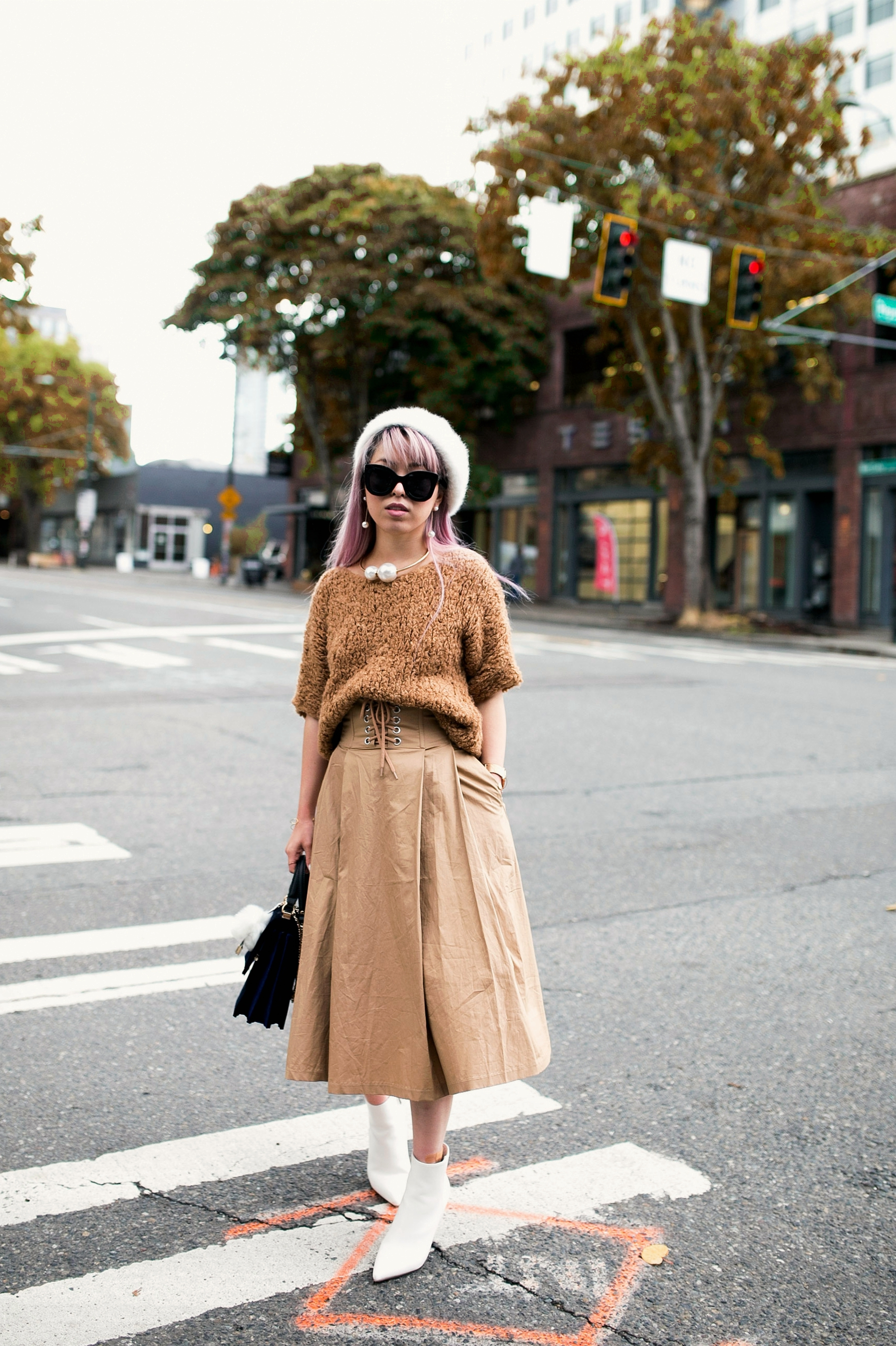 2L6A7732.jpgForever 21 Fluffy White Beret, Express Pearl Collar Necklace, Thrifted Teddy Camel Top, H&M High-waisted camel midi skirt, zara velvet bag, Forever 21 White Ankle Boots, Aika's Love Closet, Seattle Fashion Style Blogger, Japanese, pink hair, street style, petite fashion  11