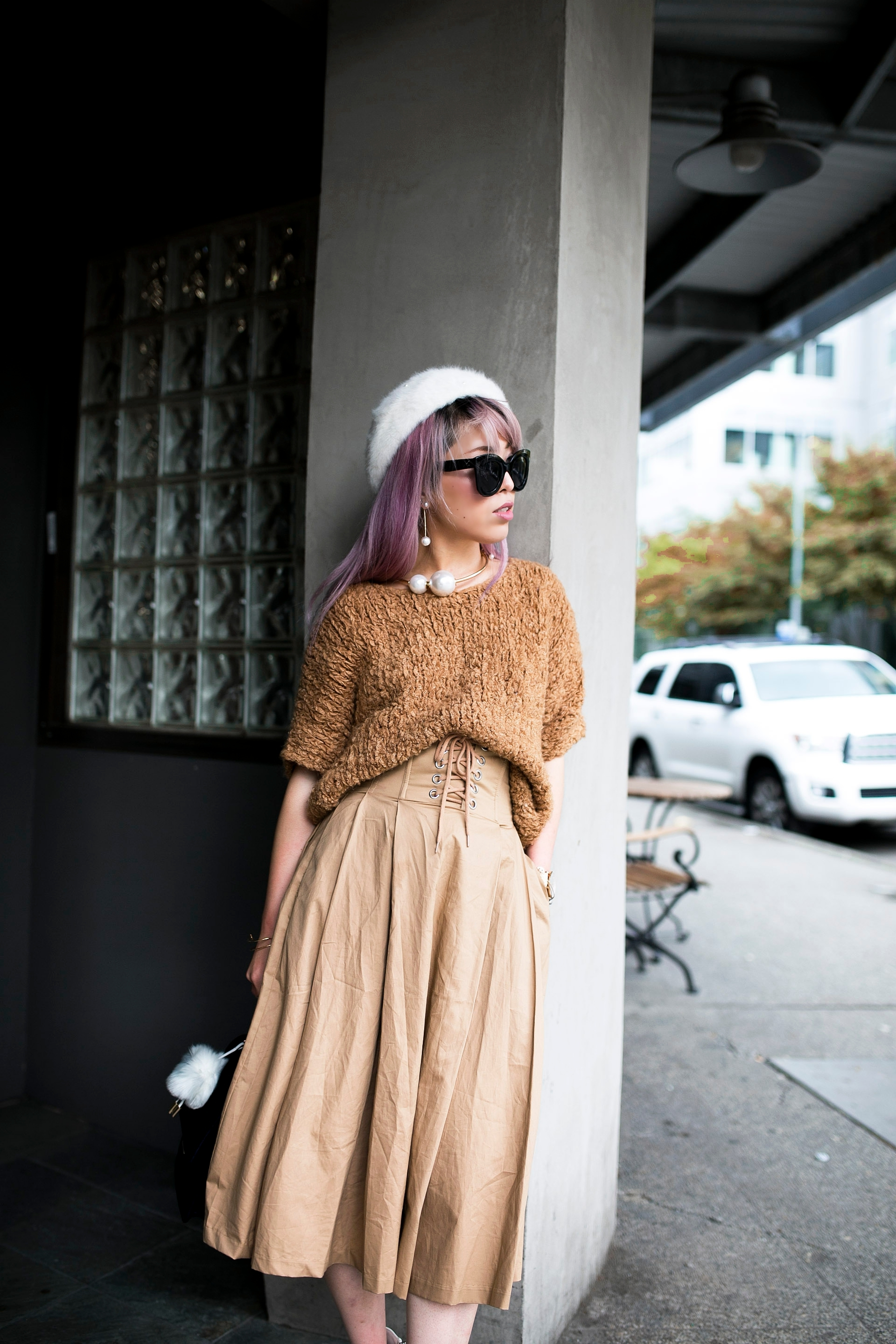 Forever 21 Fluffy White Beret, Express Pearl Collar Necklace, Thrifted Teddy Camel Top, H&M High-waisted camel midi skirt, zara velvet bag, Forever 21 White Ankle Boots, Aika's Love Closet, Seattle Fashion Style Blogger, Japanese, pink hair, street style, petite fashion  13