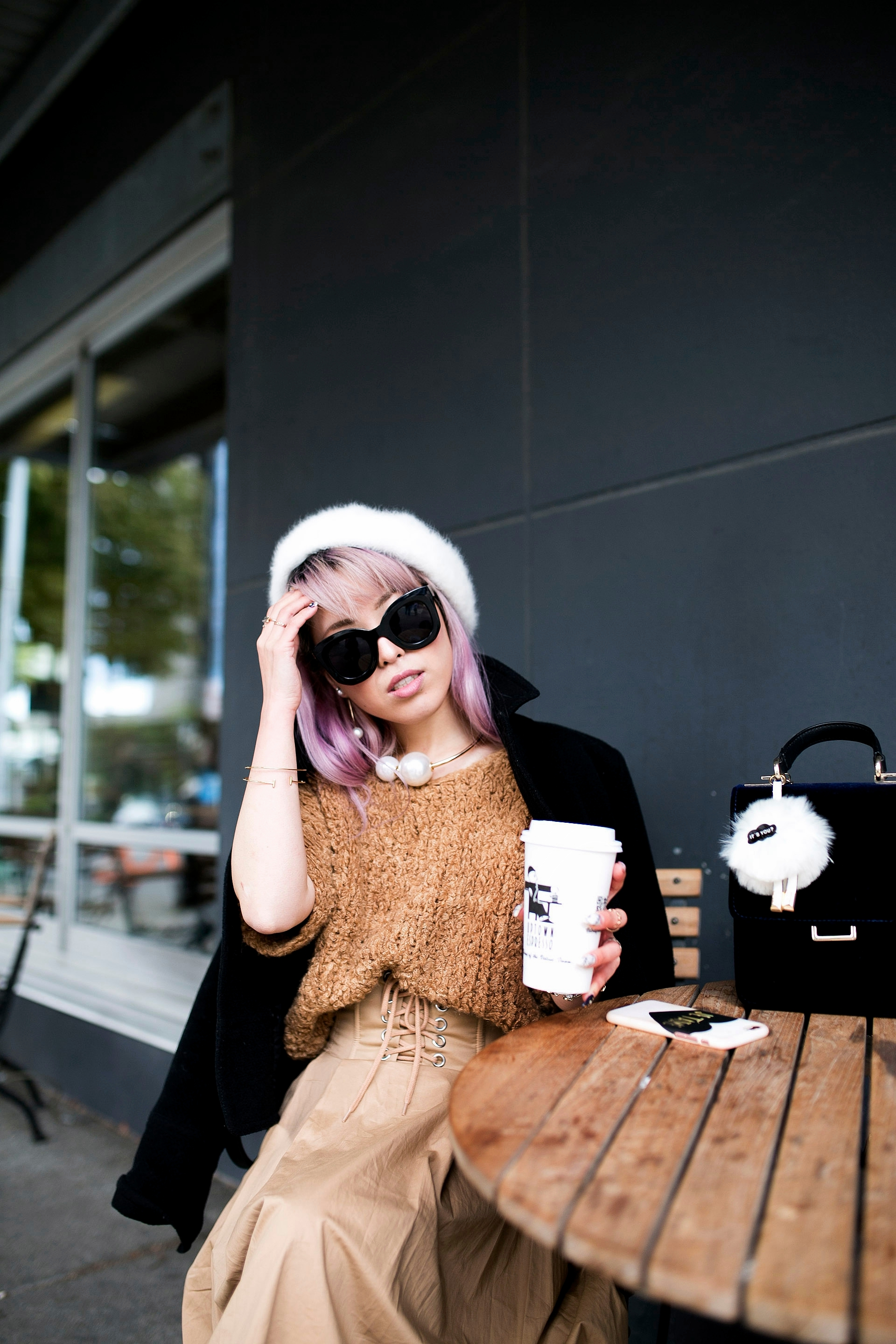 Forever 21 Fluffy White Beret, Express Pearl Collar Necklace, Thrifted Teddy Camel Top, H&M High-waisted camel midi skirt, zara velvet bag, Forever 21 White Ankle Boots, Aika's Love Closet, Seattle Fashion Style Blogger, Japanese, pink hair, street style, petite fashion  14