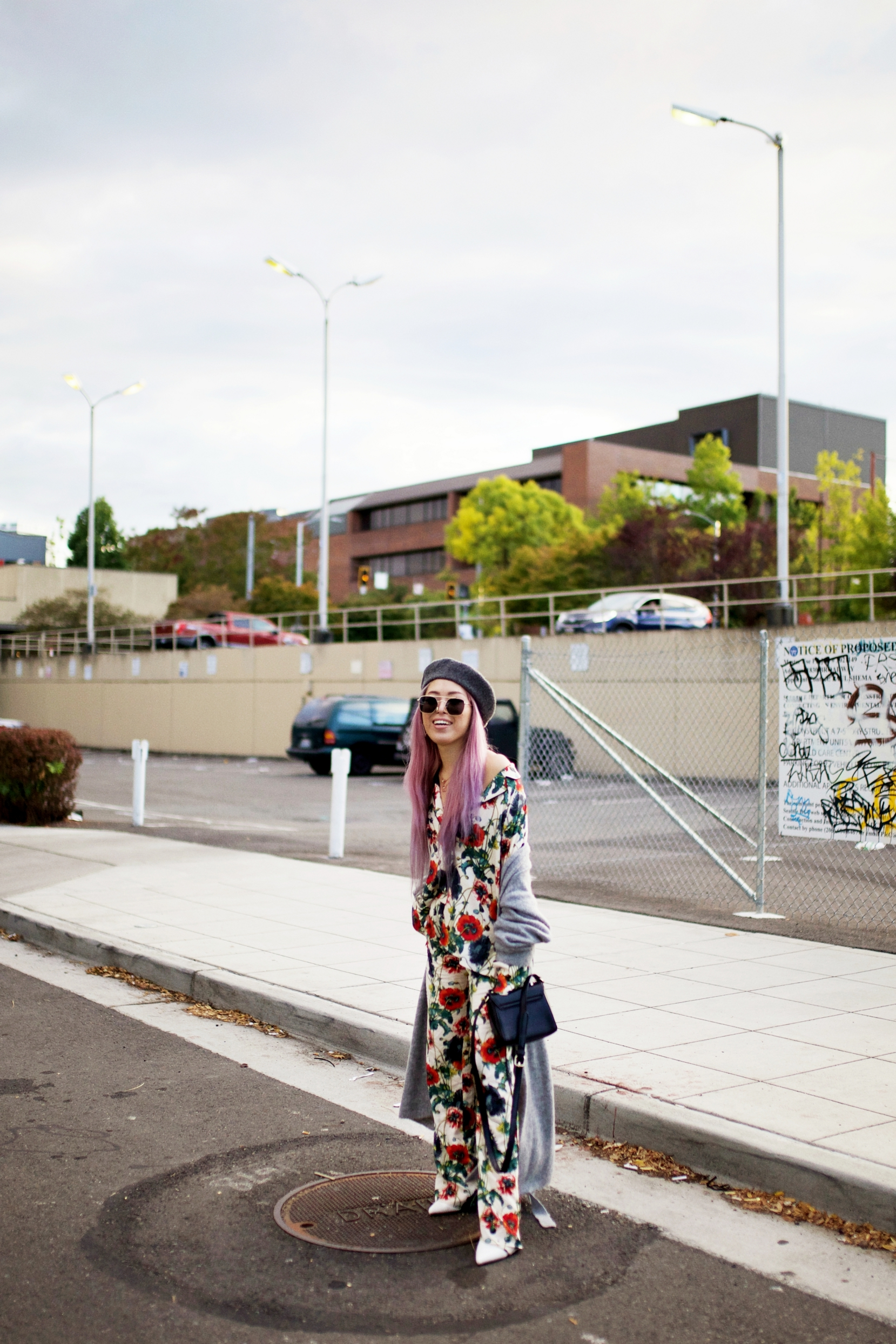 Moussy Gray Long Cardigan-H&M Floral Pajama-Forever 21 Gray Beret & White Ankle Boots-Swarovski Earrings & Necklaces-Pink hair-Aika's Love Closet-Petite-Fashion Style Seattle Blogger From Japan