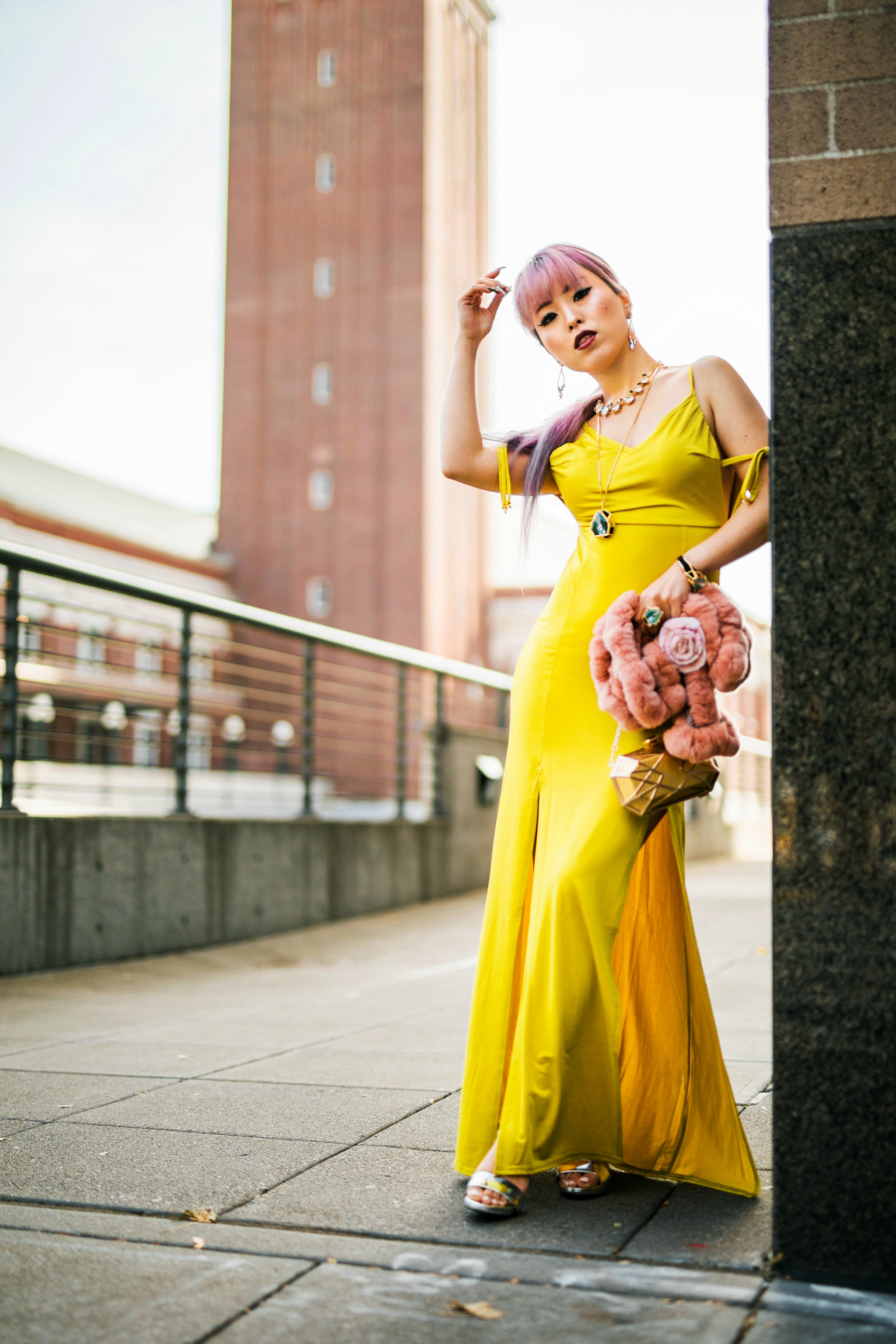 Nasty Gal yellow satin Long Term Maxi Dress-Zara Silver heeled sandals-Swarovski Rose Gold-Tone Crystal Chandelier Earrings-Huge Ring, Multi-colored, Gold plating-Swarovski Rose Goldplated Crystaldust Cross Ring-Swarovski Pave Crystal Pendant Necklace-Gold Clutch-Pink faux fur scarf-pink hair-settle fashion style blogger-petite-japanese-aika's love closet 7