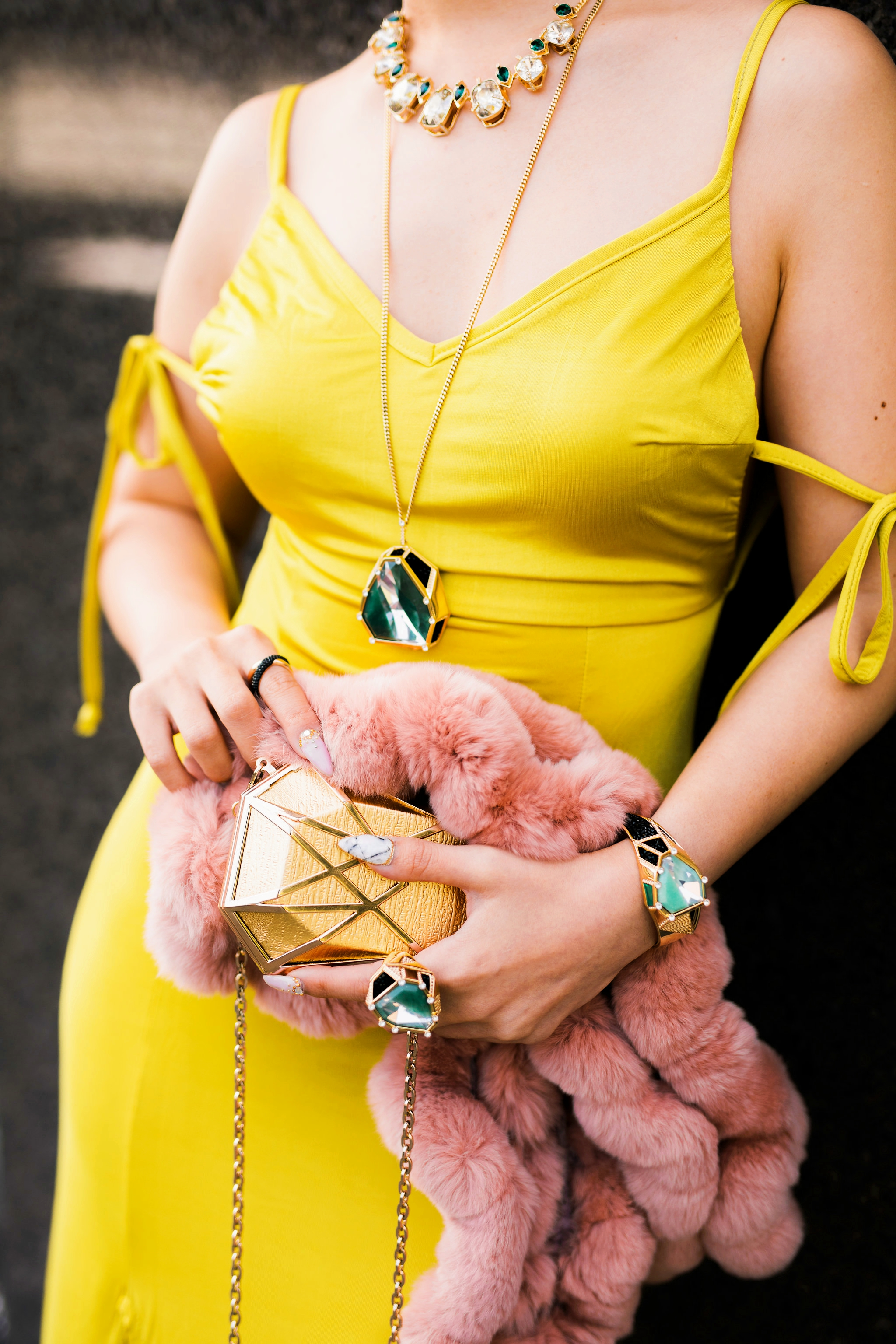 Nasty Gal yellow satin Long Term Maxi Dress-Zara Silver heeled sandals-Swarovski Rose Gold-Tone Crystal Chandelier Earrings-Huge Ring, Multi-colored, Gold plating-Swarovski Rose Goldplated Crystaldust Cross Ring-Swarovski Pave Crystal Pendant Necklace-Gold Clutch-Pink faux fur scarf-pink hair-settle fashion style blogger-petite-japanese-aika's love closet 10