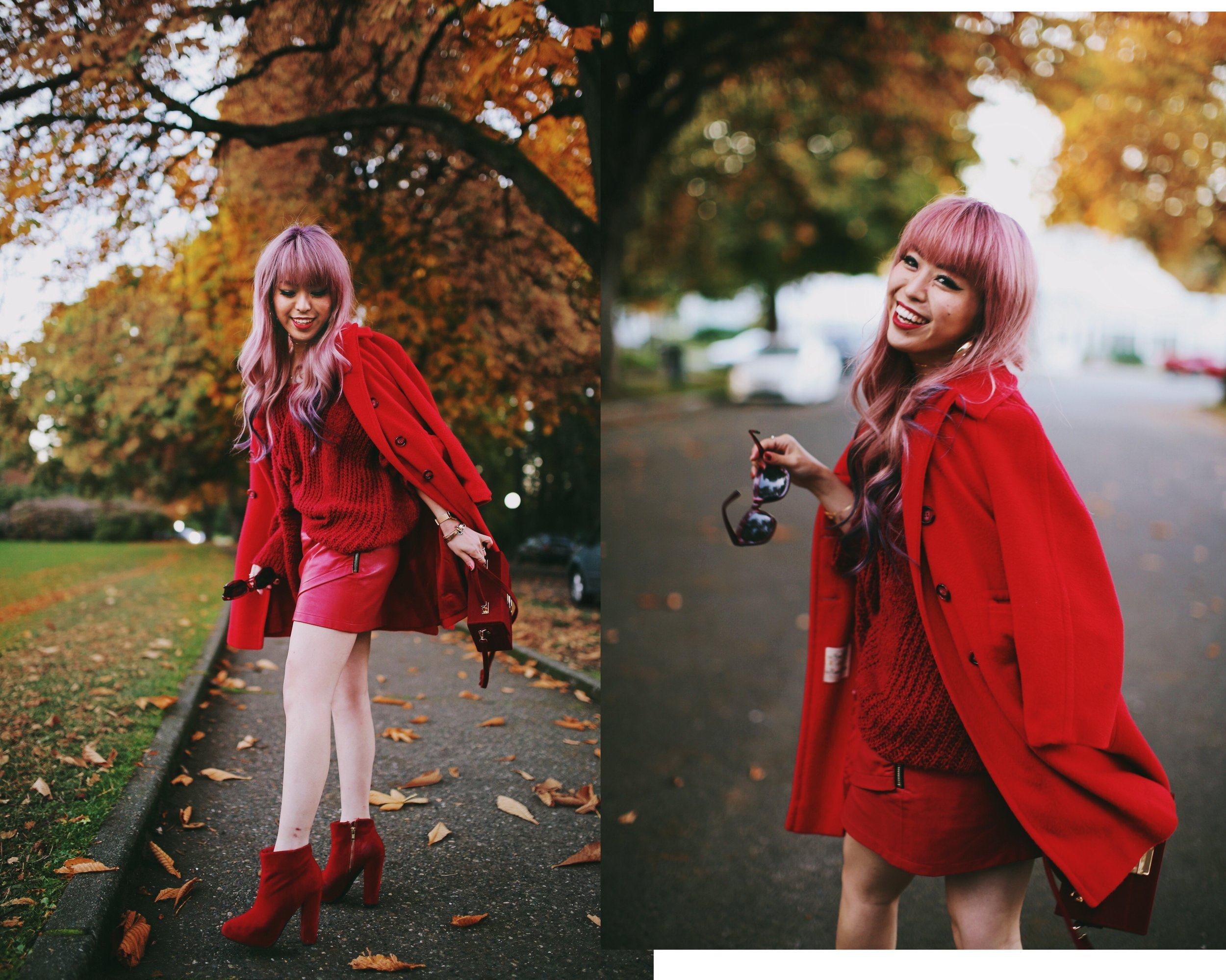 Vintage Red Coat-Red oversized sweater-zara faux leather red mini skirt-Nasty Gal Red ankle Boots-Free People Red framed sunglasses-kara red boxy bag-Daniel Wellington rose gold petite watch-Aikas Love Closet-Seattle style fashion blogger-japanese