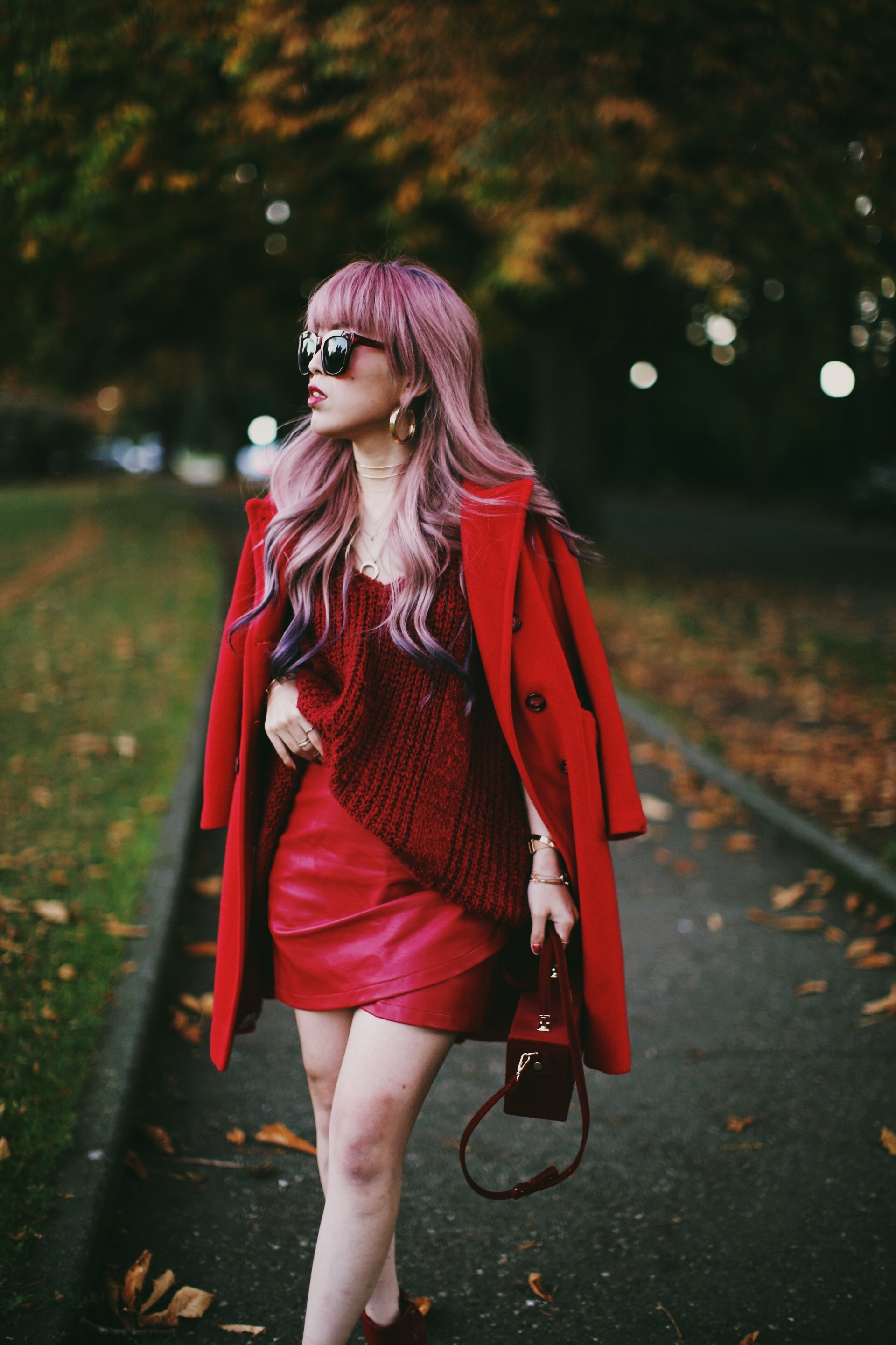 Vintage Red Coat-Red oversized sweater-zara faux leather red mini skirt-Nasty Gal Red ankle Boots-Free People Red framed sunglasses-kara red boxy bag-Daniel Wellington rose gold petite watch-Aikas Love Closet-Seattle style fashion blogger-japanese 2