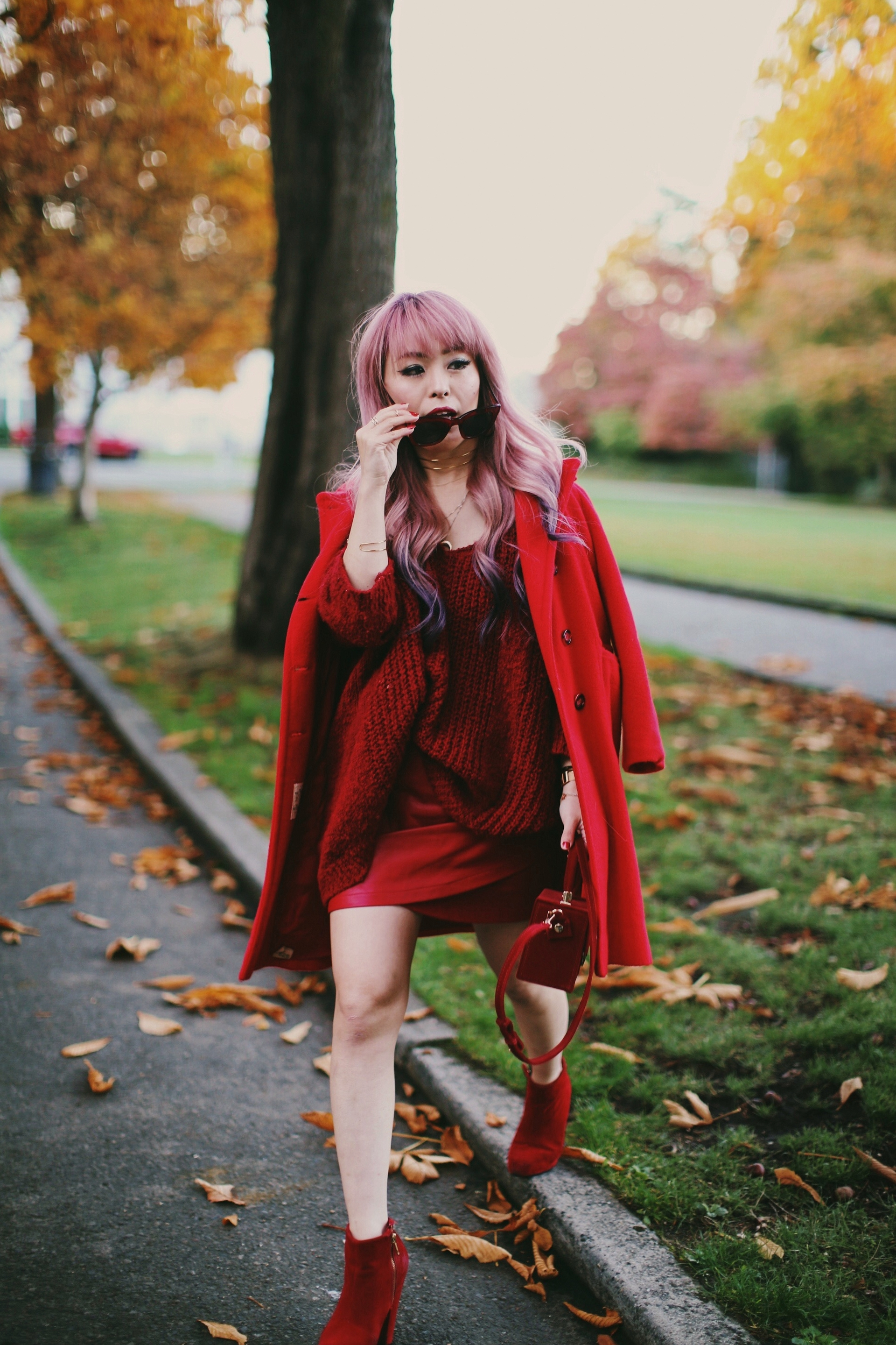 Vintage Red Coat-Red oversized sweater-zara faux leather red mini skirt-Nasty Gal Red ankle Boots-Free People Red framed sunglasses-kara red boxy bag-Daniel Wellington rose gold petite watch-Aikas Love Closet-Seattle style fashion blogger-japanese 3