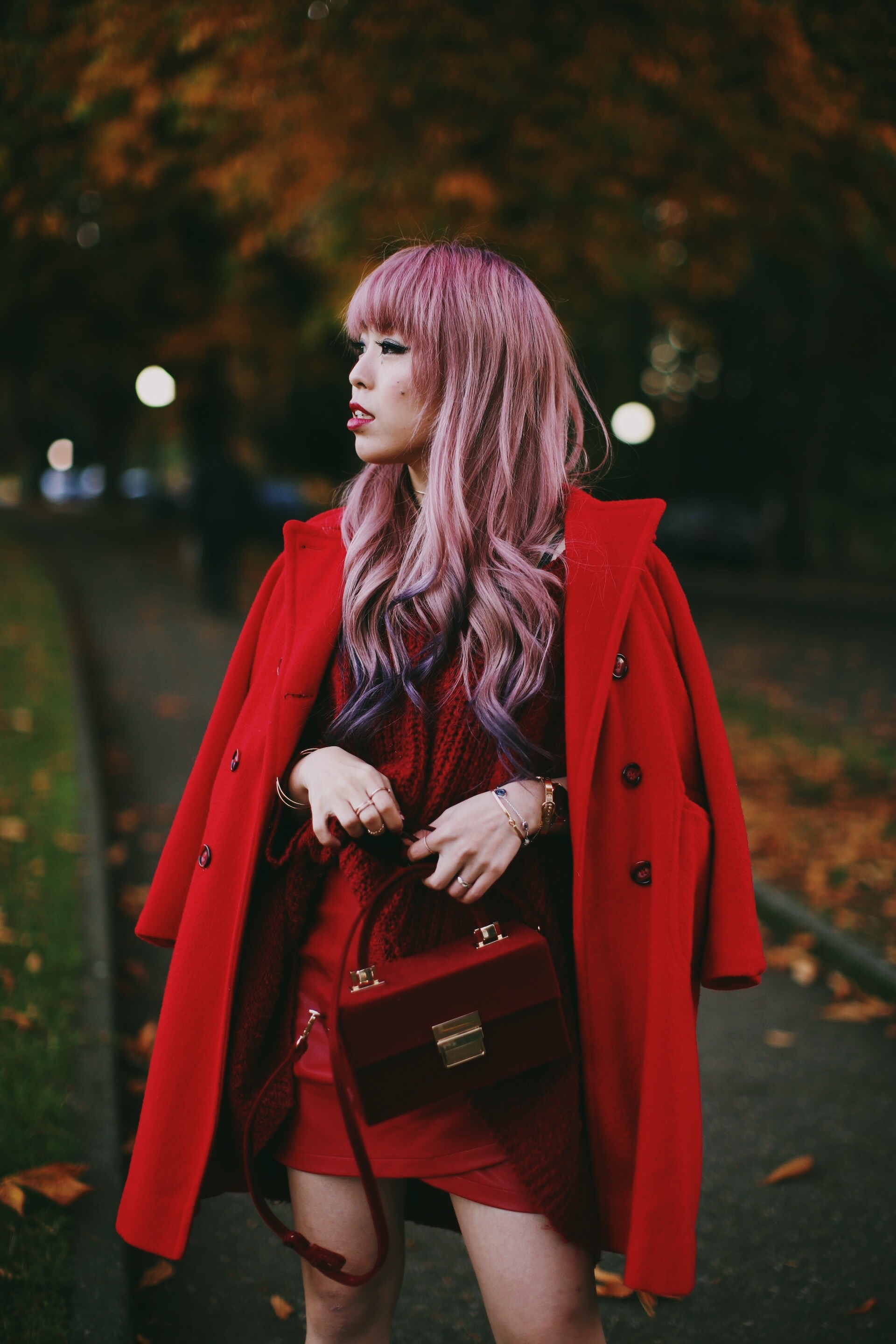 Vintage Red Coat-Red oversized sweater-zara faux leather red mini skirt-Nasty Gal Red ankle Boots-Free People Red framed sunglasses-kara red boxy bag-Daniel Wellington rose gold petite watch-Aikas Love Closet-Seattle style fashion blogger-japanese-pink hair-unicorn hair