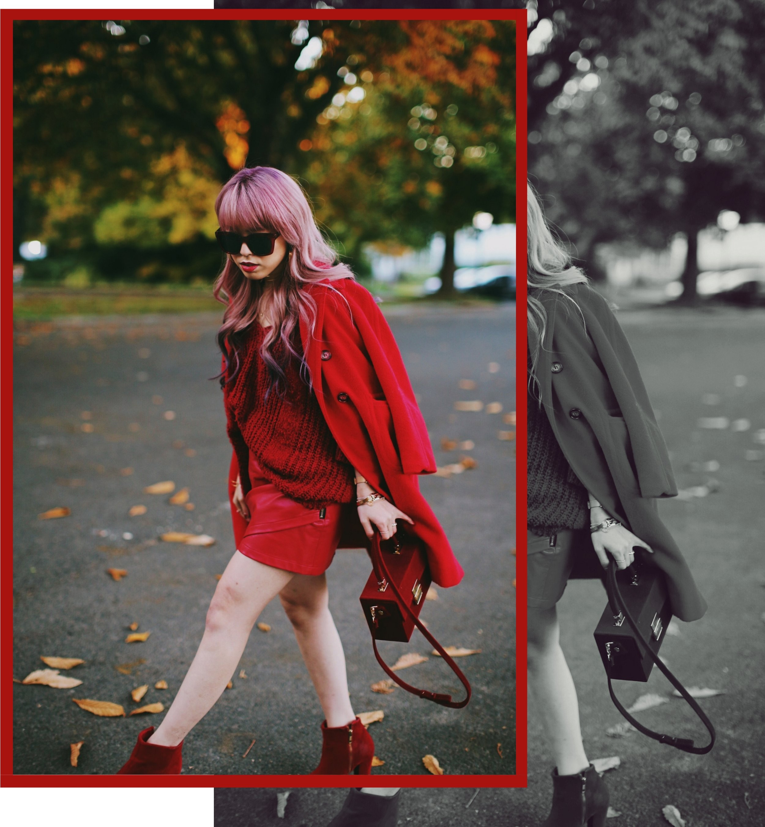 Vintage Red Coat-Red oversized sweater-zara faux leather red mini skirt-Nasty Gal Red ankle Boots-Free People Red framed sunglasses-kara red boxy bag-Daniel Wellington rose gold petite watch-Aikas Love Closet-Seattle style fashion blogger-japanese-pink hair-unicorn hair 2