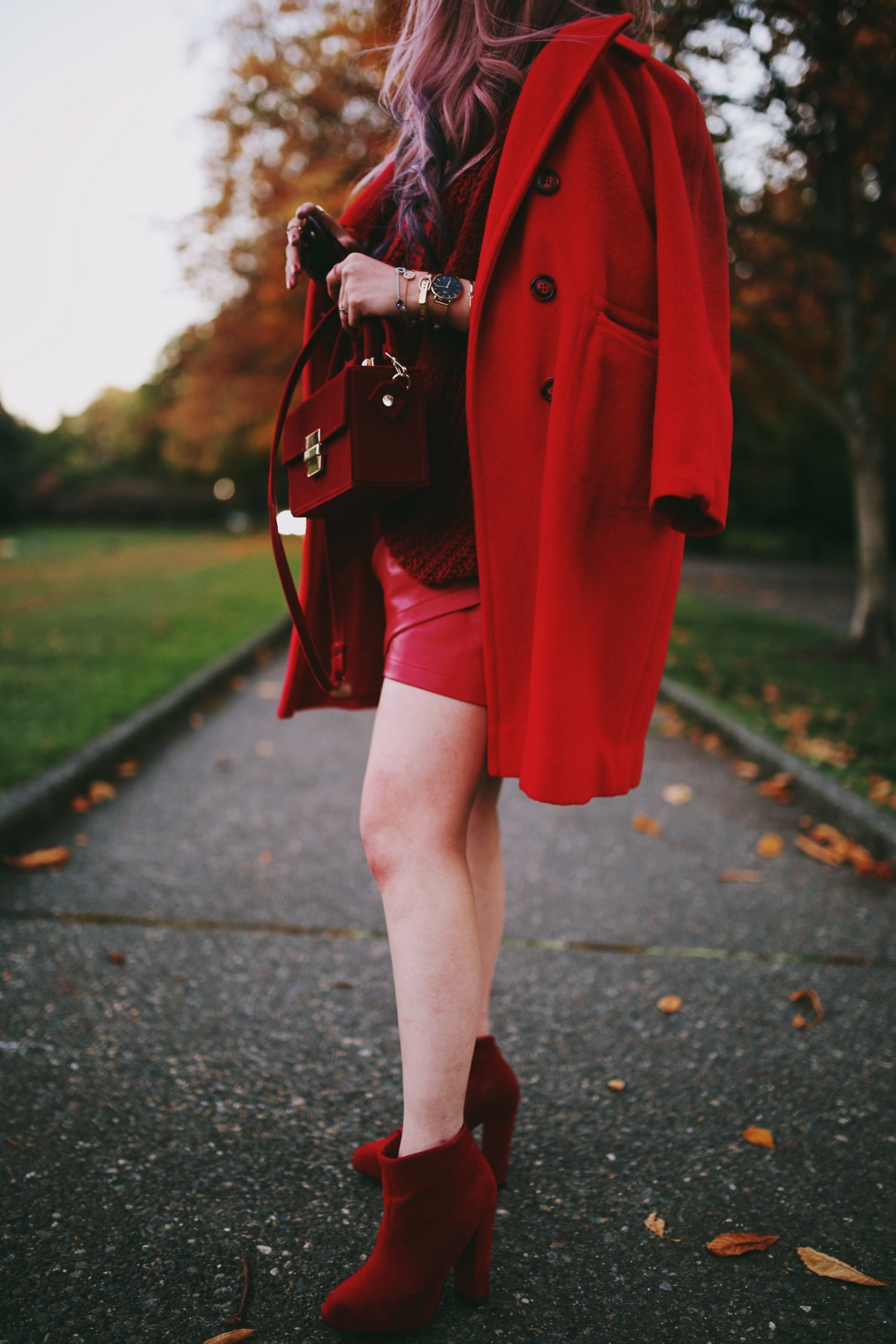 Swarovski remix collection bracelets-Vintage Red Coat-Red oversized sweater-zara faux leather red mini skirt-Nasty Gal Red ankle Boots-Free People Red framed sunglasses-kara red boxy bag-Daniel Wellington rose gold petite watch-Aikas Love Closet-Seattle style fashion blogger-japanese-pink hair-unicorn hair 2