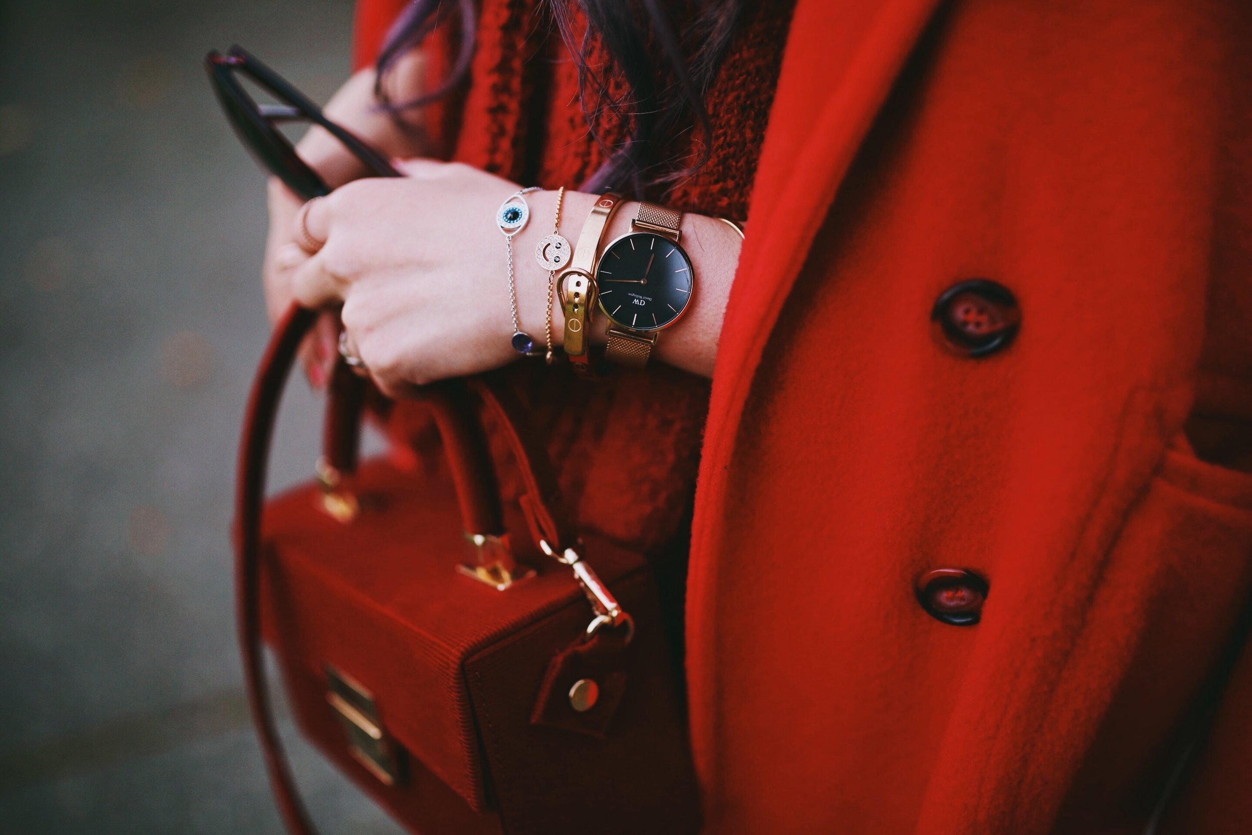 Swarovski Remix collection bracelets-Vintage Red Coat-Red oversized sweater-zara faux leather red mini skirt-Nasty Gal Red ankle Boots-Free People Red framed sunglasses-kara red boxy bag-Daniel Wellington rose gold petite watch-Aikas Love Closet-Seattle style fashion blogger-japanese-pink hair-unicorn hair 4