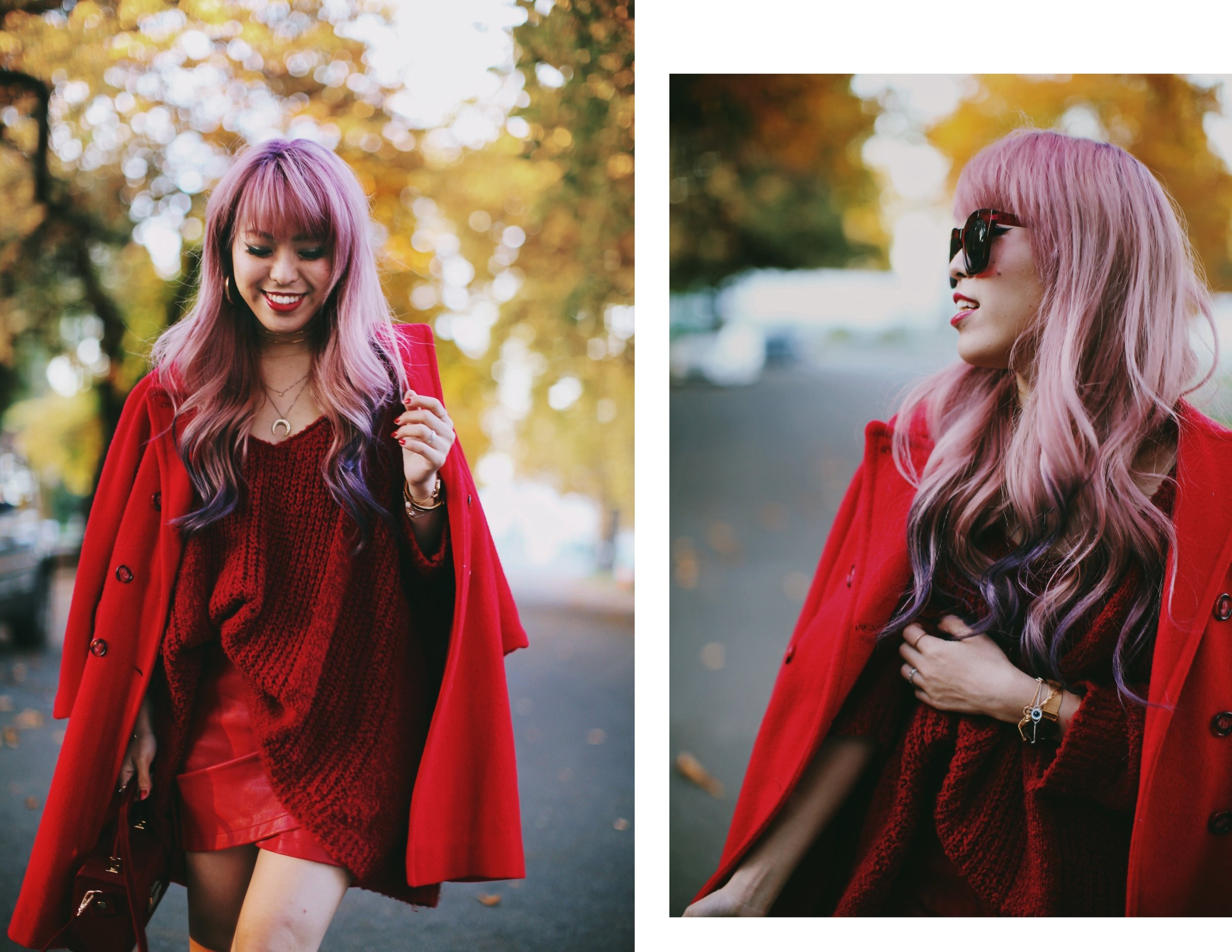 Vintage Red Coat-Red oversized sweater-zara faux leather red mini skirt-Nasty Gal Red ankle Boots-Free People Red framed sunglasses-kara red boxy bag-Daniel Wellington rose gold petite watch-Aikas Love Closet-Seattle style fashion blogger-japanese-pink hair-unicorn hair 5