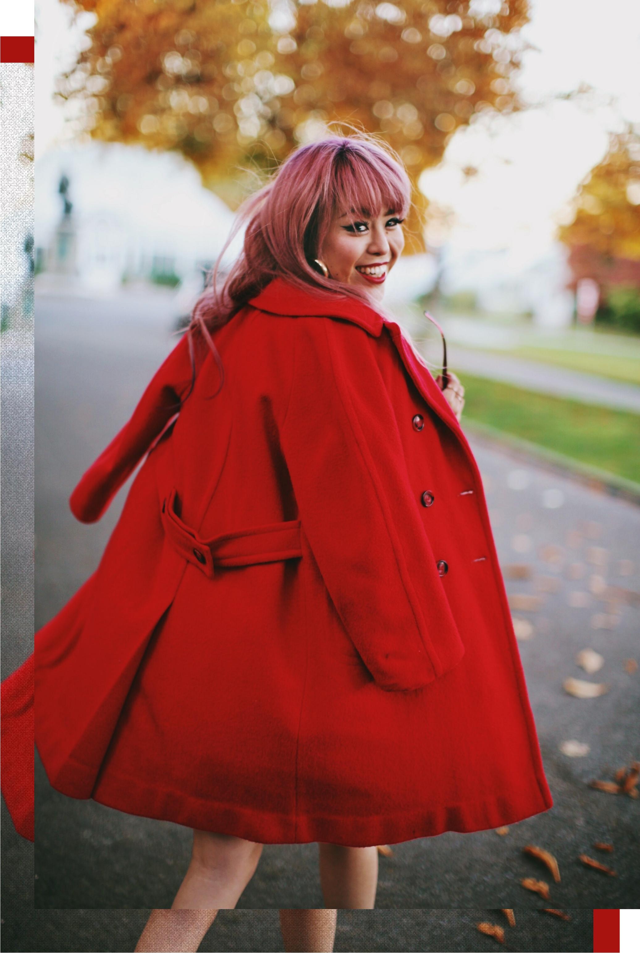 Vintage Red Coat-Red oversized sweater-zara faux leather red mini skirt-Nasty Gal Red ankle Boots-Free People Red framed sunglasses-kara red boxy bag-Daniel Wellington rose gold petite watch-Aikas Love Closet-Seattle style fashion blogger-japanese-pink hair-unicorn hair 7