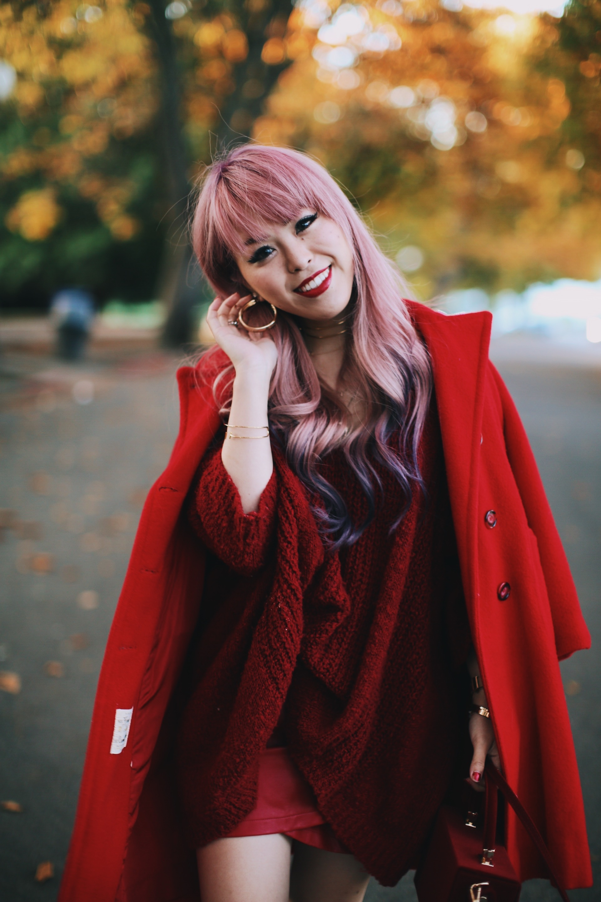 Vintage Red Coat-Red oversized sweater-zara faux leather red mini skirt-Nasty Gal Red ankle Boots-Free People Red framed sunglasses-kara red boxy bag-Daniel Wellington rose gold petite watch-Aikas Love Closet-Seattle style fashion blogger-japanese-pink hair-unicorn hair 8