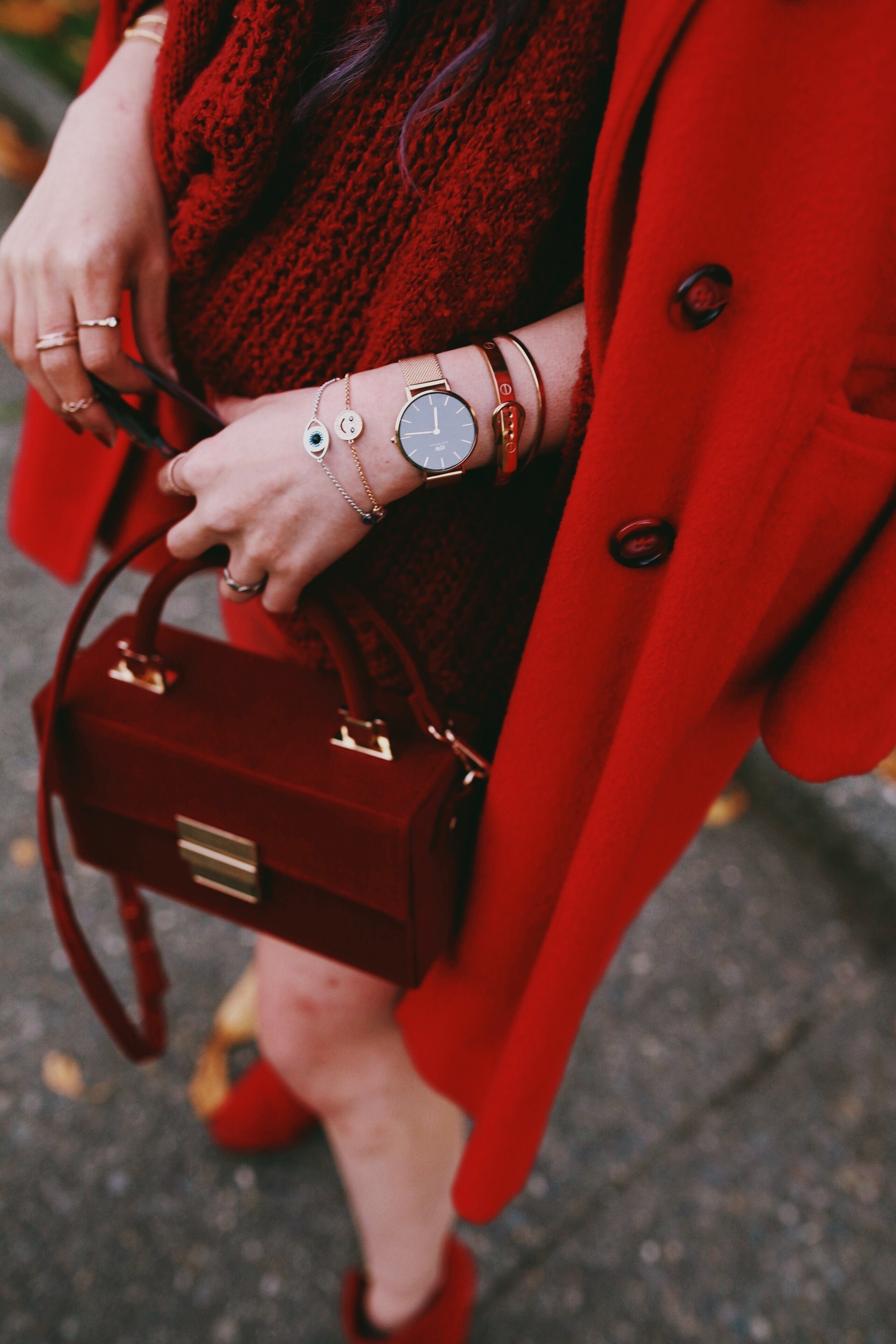 Vintage Red Coat-Red oversized sweater-zara faux leather red mini skirt-Nasty Gal Red ankle Boots-Free People Red framed sunglasses-kara red boxy bag-Daniel Wellington rose gold petite watch-Aikas Love Closet-Seattle style fashion blogger-japanese-pink hair-unicorn hair 9