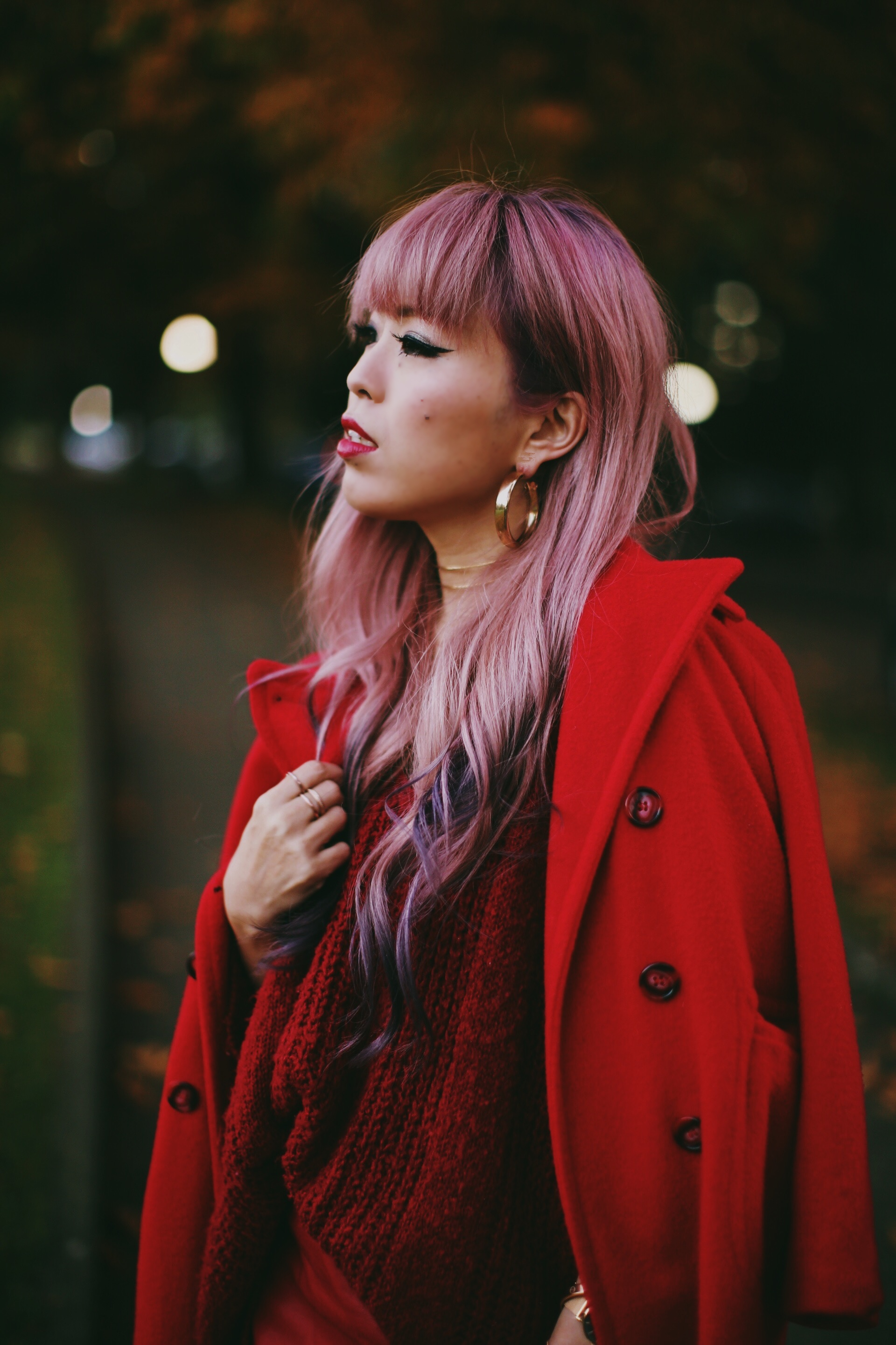 Vintage Red Coat-Red oversized sweater-zara faux leather red mini skirt-Nasty Gal Red ankle Boots-Free People Red framed sunglasses-kara red boxy bag-Daniel Wellington rose gold petite watch-Aikas Love Closet-Seattle style fashion blogger-japanese-pink hair-unicorn hair 10