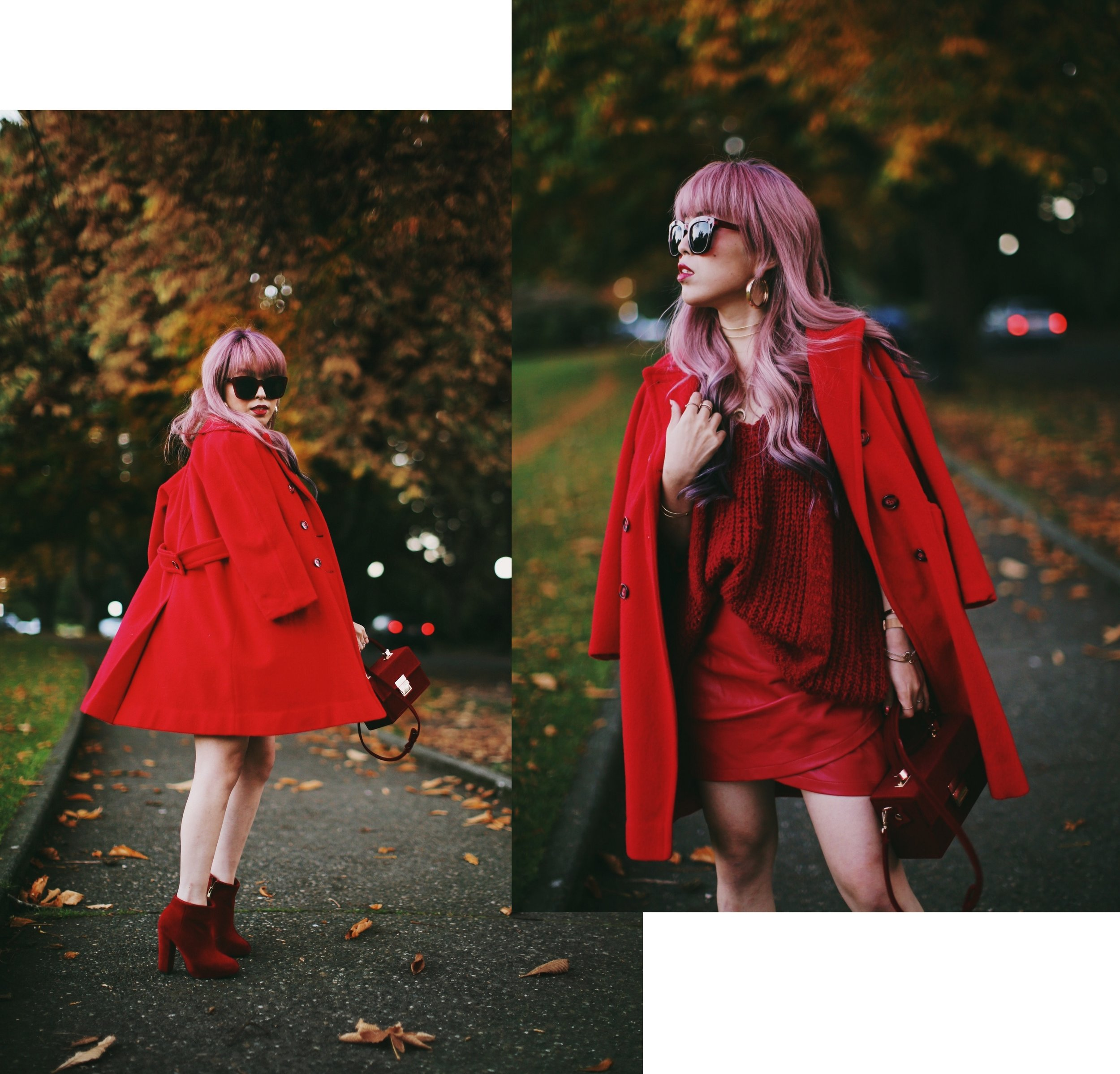 Vintage Red Coat-Red oversized sweater-zara faux leather red mini skirt-Nasty Gal Red ankle Boots-Free People Red framed sunglasses-kara red boxy bag-Daniel Wellington rose gold petite watch-Aikas Love Closet-Seattle style fashion blogger-japanese-pink hair-unicorn hair 11