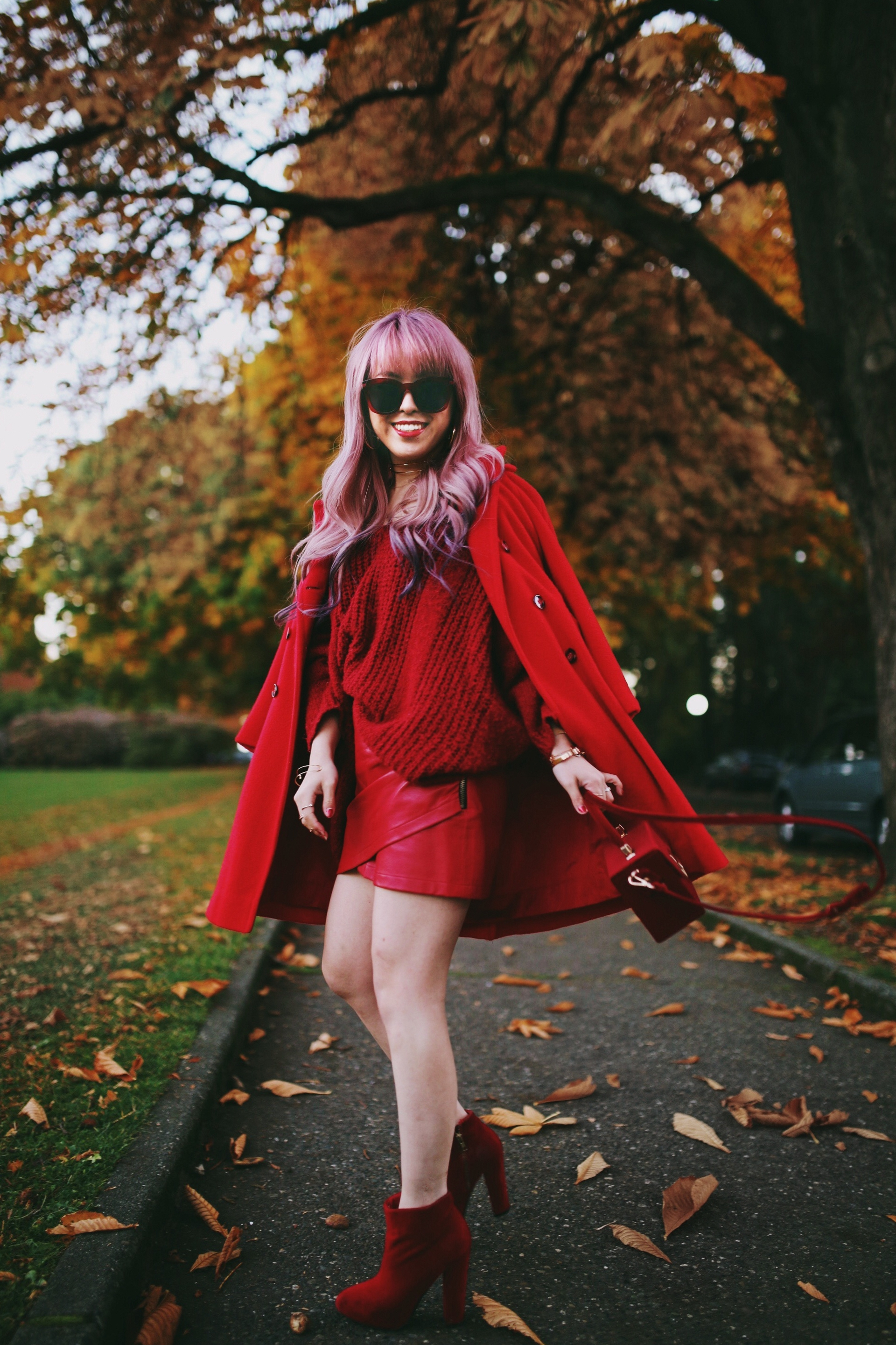 Vintage Red Coat-Red oversized sweater-zara faux leather red mini skirt-Nasty Gal Red ankle Boots-Free People Red framed sunglasses-kara red boxy bag-Daniel Wellington rose gold petite watch-Aikas Love Closet-Seattle style fashion blogger-japanese-pink hair-unicorn hair 12