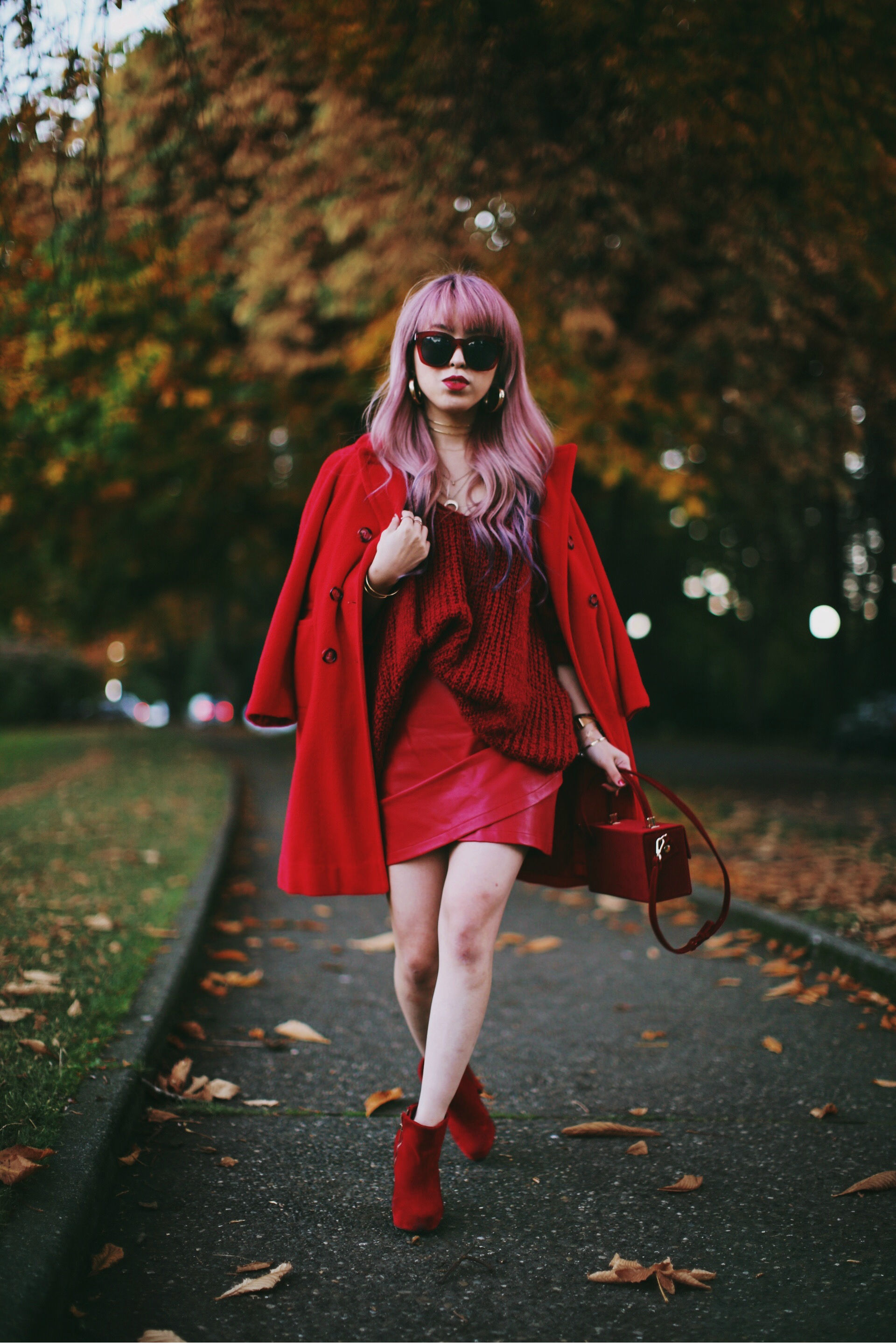 Vintage Red Coat-Red oversized sweater-zara faux leather red mini skirt-Nasty Gal Red ankle Boots-Free People Red framed sunglasses-kara red boxy bag-Daniel Wellington rose gold petite watch-Aikas Love Closet-Seattle style fashion blogger-japanese-pink hair-unicorn hair 14