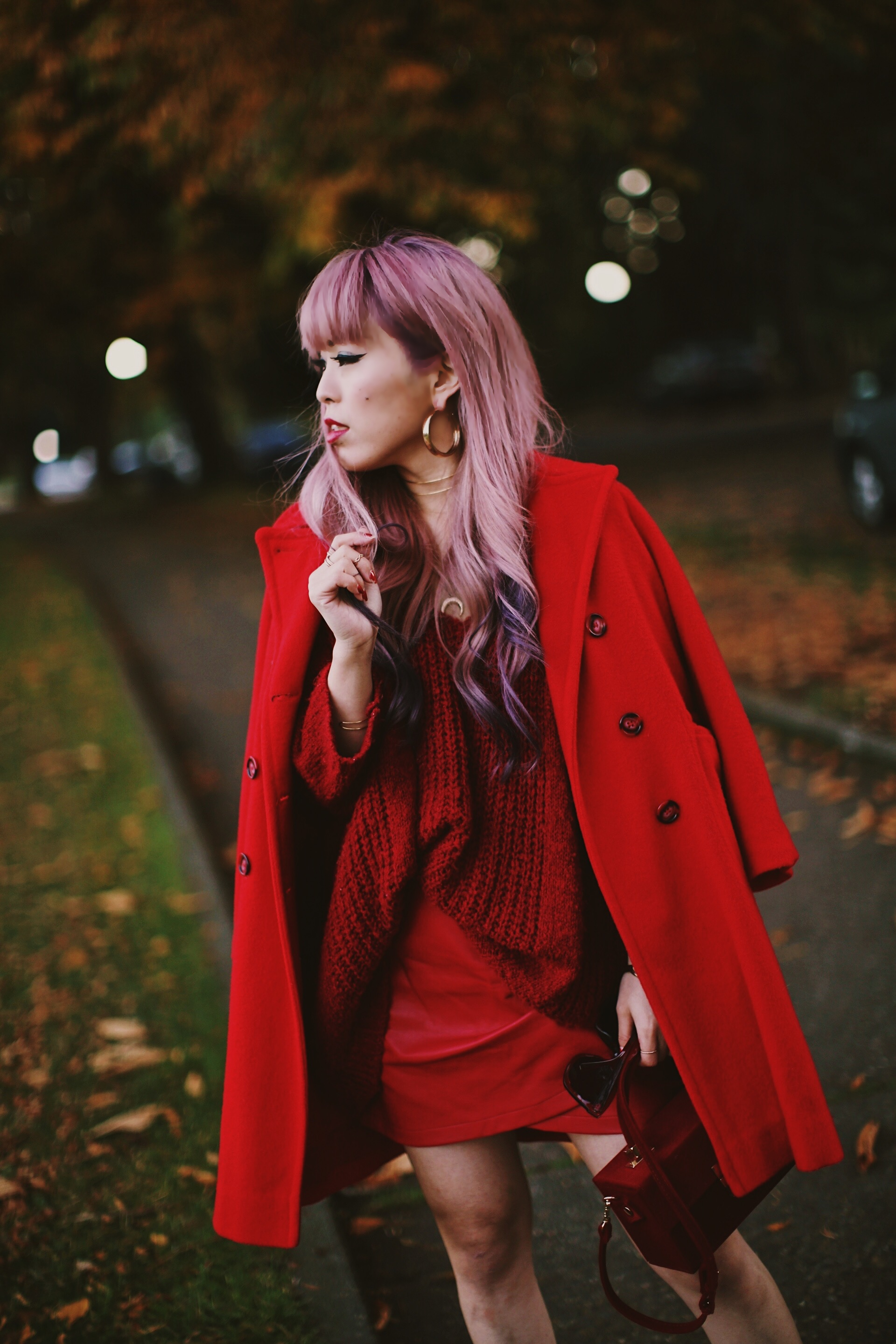 Vintage Red Coat-Red oversized sweater-zara faux leather red mini skirt-Nasty Gal Red ankle Boots-Free People Red framed sunglasses-kara red boxy bag-Daniel Wellington rose gold petite watch-Aikas Love Closet-Seattle style fashion blogger-japanese-pink hair-unicorn hair 15