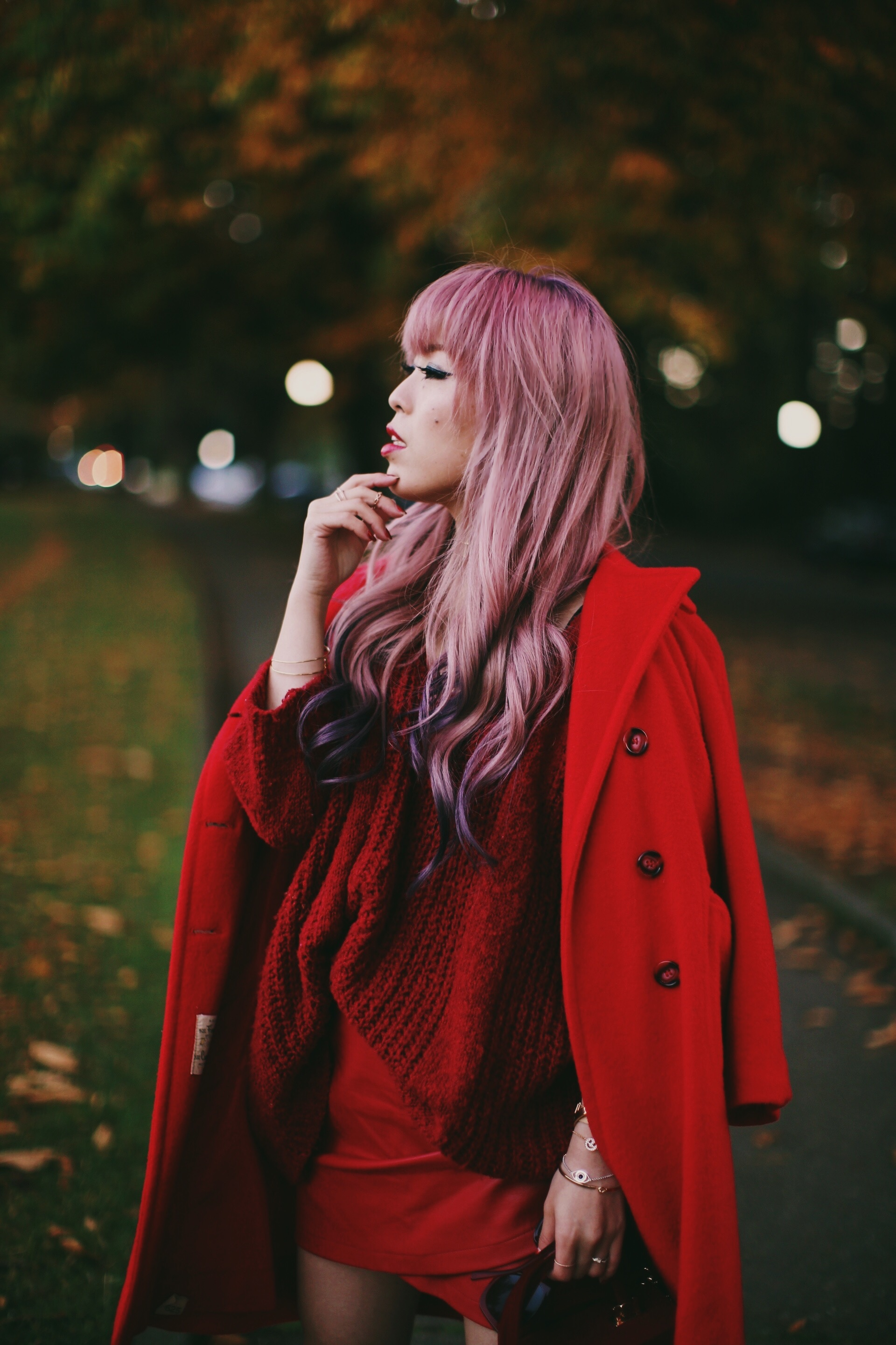 Vintage Red Coat-Red oversized sweater-zara faux leather red mini skirt-Nasty Gal Red ankle Boots-Free People Red framed sunglasses-kara red boxy bag-Daniel Wellington rose gold petite watch-Aikas Love Closet-Seattle style fashion blogger-japanese-pink hair-unicorn hair 18