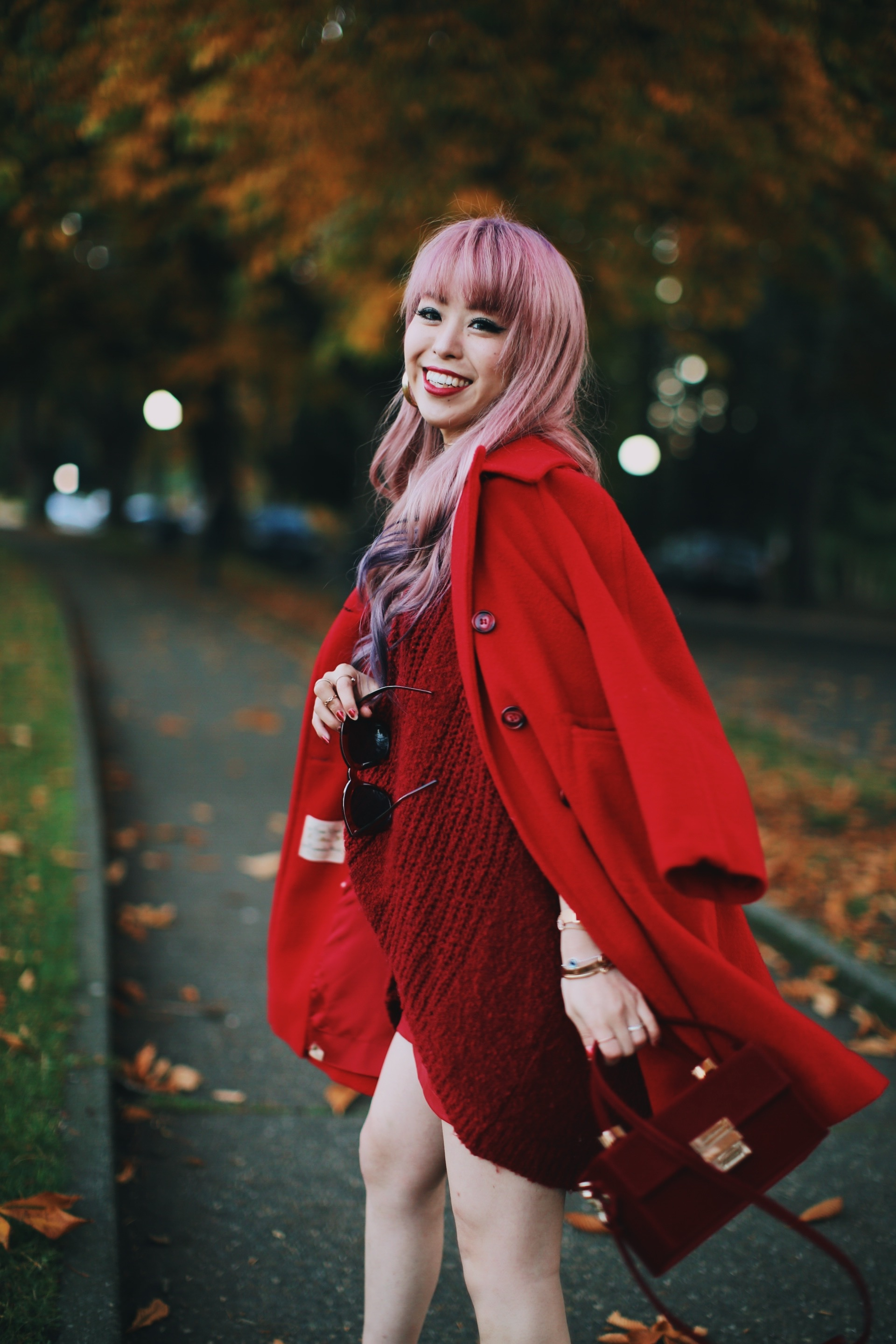 Vintage Red Coat-Red oversized sweater-zara faux leather red mini skirt-Nasty Gal Red ankle Boots-Free People Red framed sunglasses-kara red boxy bag-Daniel Wellington rose gold petite watch-Aikas Love Closet-Seattle style fashion blogger-japanese-pink hair-unicorn hair 19