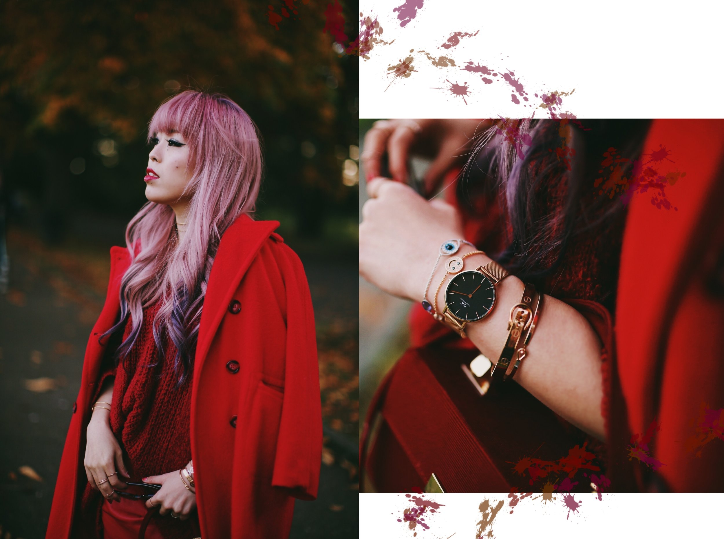 Vintage Red Coat-Red oversized sweater-zara faux leather red mini skirt-Nasty Gal Red ankle Boots-Free People Red framed sunglasses-kara red boxy bag-Daniel Wellington rose gold petite watch-Aikas Love Closet-Seattle style fashion blogger-japanese-pink hair-unicorn hair-swarovski remix collection bracelets