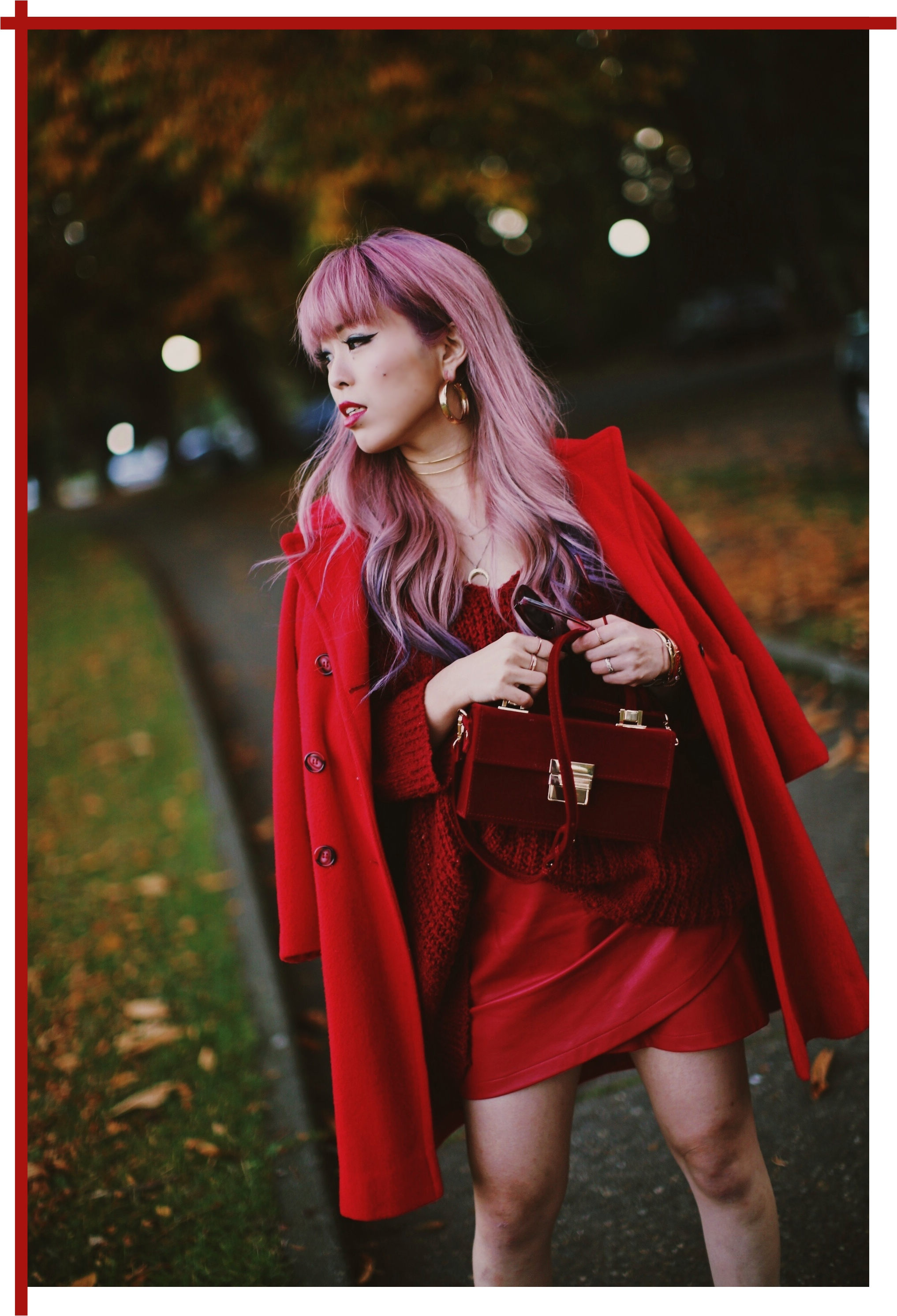 Vintage Red Coat-Red oversized sweater-zara faux leather red mini skirt-Nasty Gal Red ankle Boots-Free People Red framed sunglasses-kara red boxy bag-Daniel Wellington rose gold petite watch-Aikas Love Closet-Seattle style fashion blogger-japanese-pink hair-unicorn hair 20