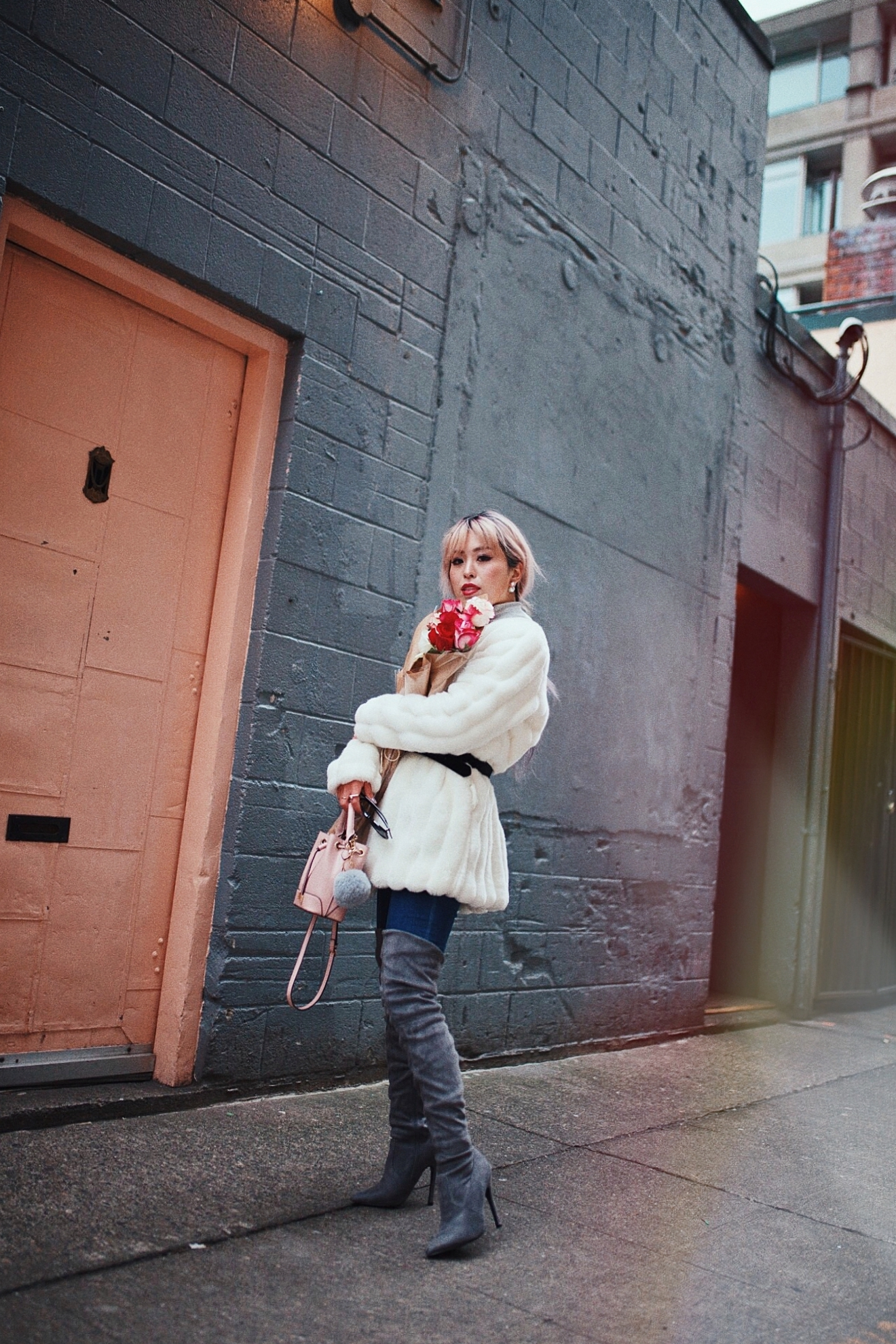 H&M Gray Turtleneck Sweater-ASOS high waisted skinny jean-EGO Grey Over the Knee Boots-While Faux Fur Coat-Forever 21 Pearl Belt & Pink Mini Basket Bag-Chanel Ribbon Hair-Valentine's Day-Pink Hair-Japanese-Seattle Style Fashion Blogger-AikA's Love Closet