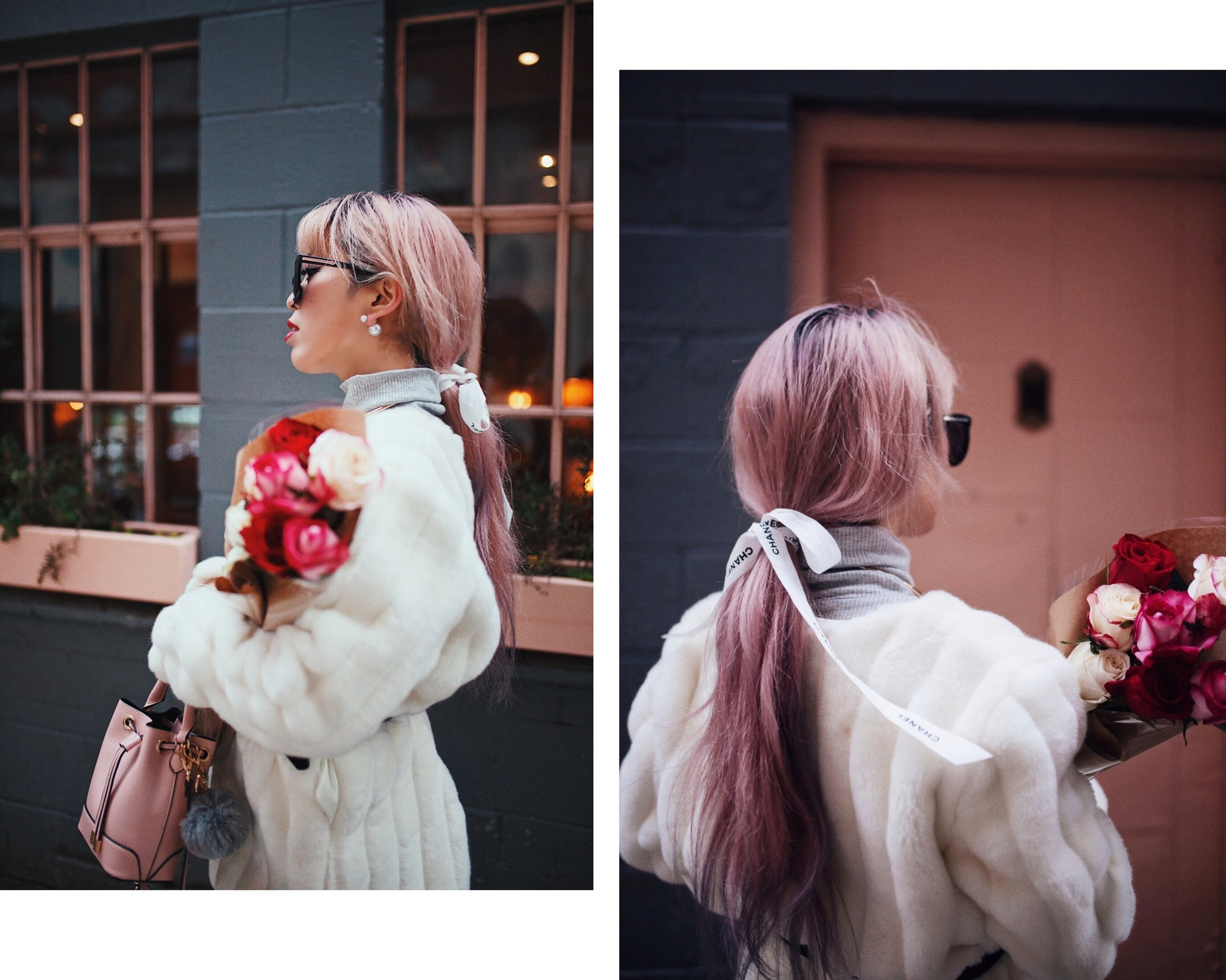 H&M Gray Turtleneck Sweater-ASOS high waisted skinny jean-EGO Grey Over the Knee Boots-While Faux Fur Coat-Forever 21 Pearl Belt & Pink Mini Basket Bag-Chanel Ribbon Hair-Valentine's Day-Rose bouquet-Pink Hair-Japanese-Seattle Style Fashion Blogger-AikA's Love Closet 2