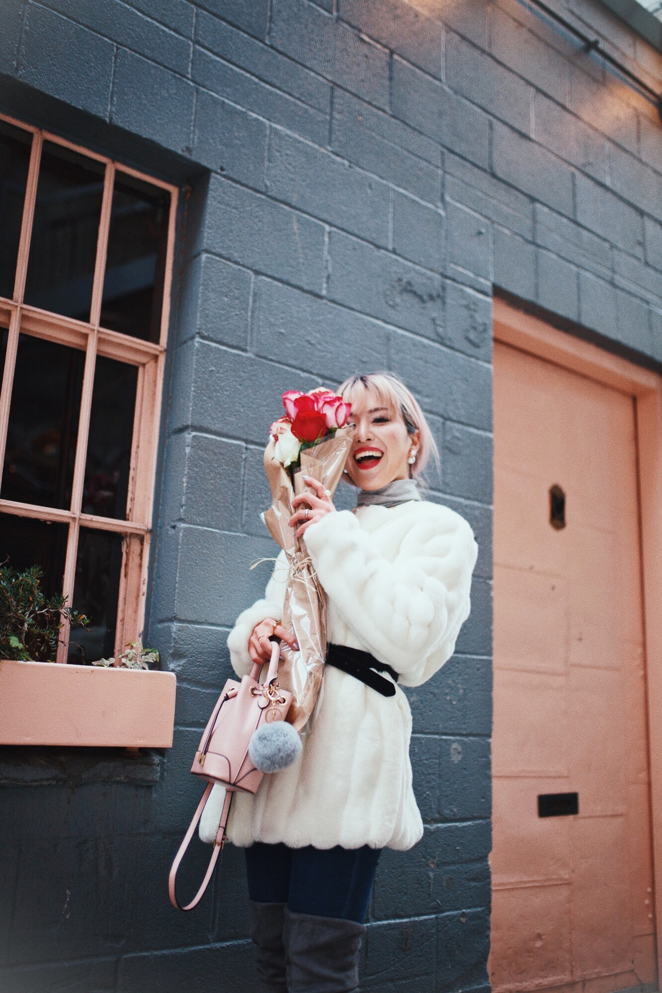 H&M Gray Turtleneck Sweater-ASOS high waisted skinny jean-EGO Grey Over the Knee Boots-While Faux Fur Coat-Forever 21 Pearl Belt & Pink Mini Basket Bag-Chanel Ribbon Hair-Valentine's Day-Rose bouquet-Pink Hair-Japanese-Seattle Style Fashion Blogger-AikA's Love Closet 3