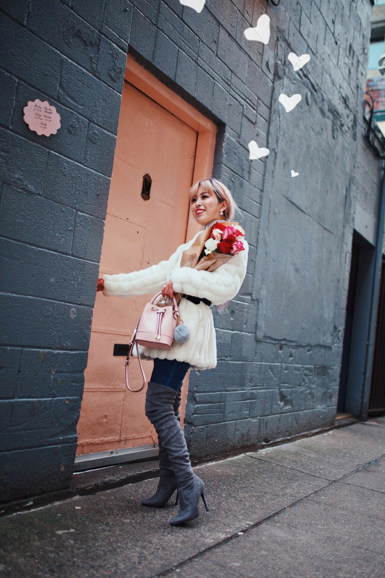 H&M Gray Turtleneck Sweater-ASOS high waisted skinny jean-EGO Grey Over the Knee Boots-While Faux Fur Coat-Forever 21 Pearl Belt & Pink Mini Basket Bag-Chanel Ribbon Hair-Valentine's Day-Rose bouquet-Pink Hair-Japanese-Seattle Style Fashion Blogger-AikA's Love Closet 4
