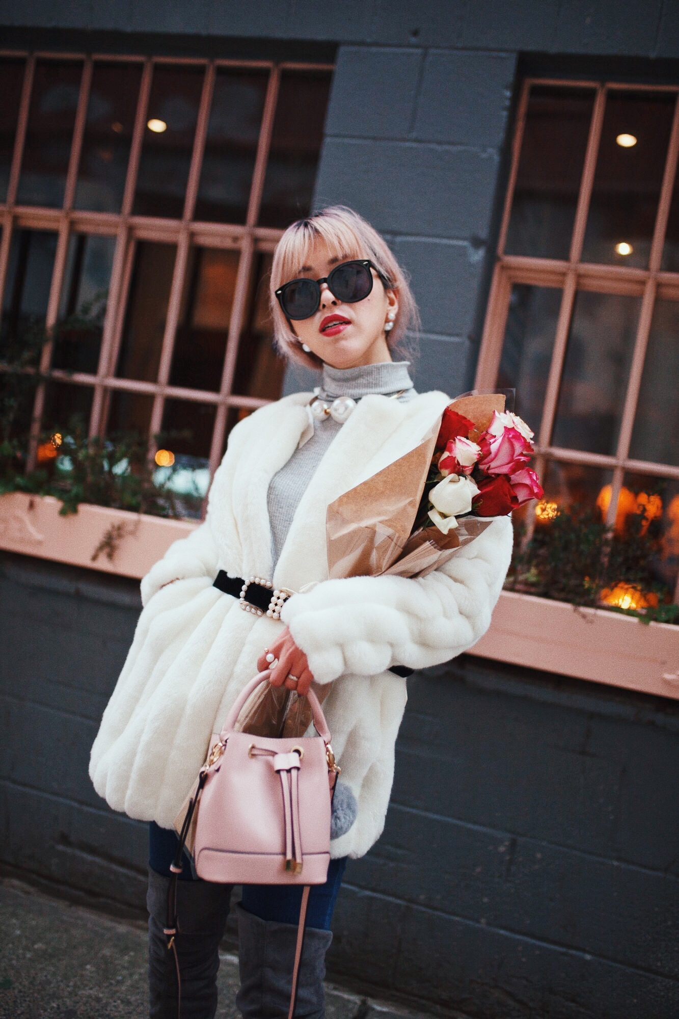 H&M Gray Turtleneck Sweater-ASOS high waisted skinny jean-EGO Grey Over the Knee Boots-While Faux Fur Coat-Forever 21 Pearl Belt & Pink Mini Basket Bag-Chanel Ribbon Hair-Valentine's Day-Rose bouquet-Pink Hair-Japanese-Seattle Style Fashion Blogger-AikA's Love Closet 6
