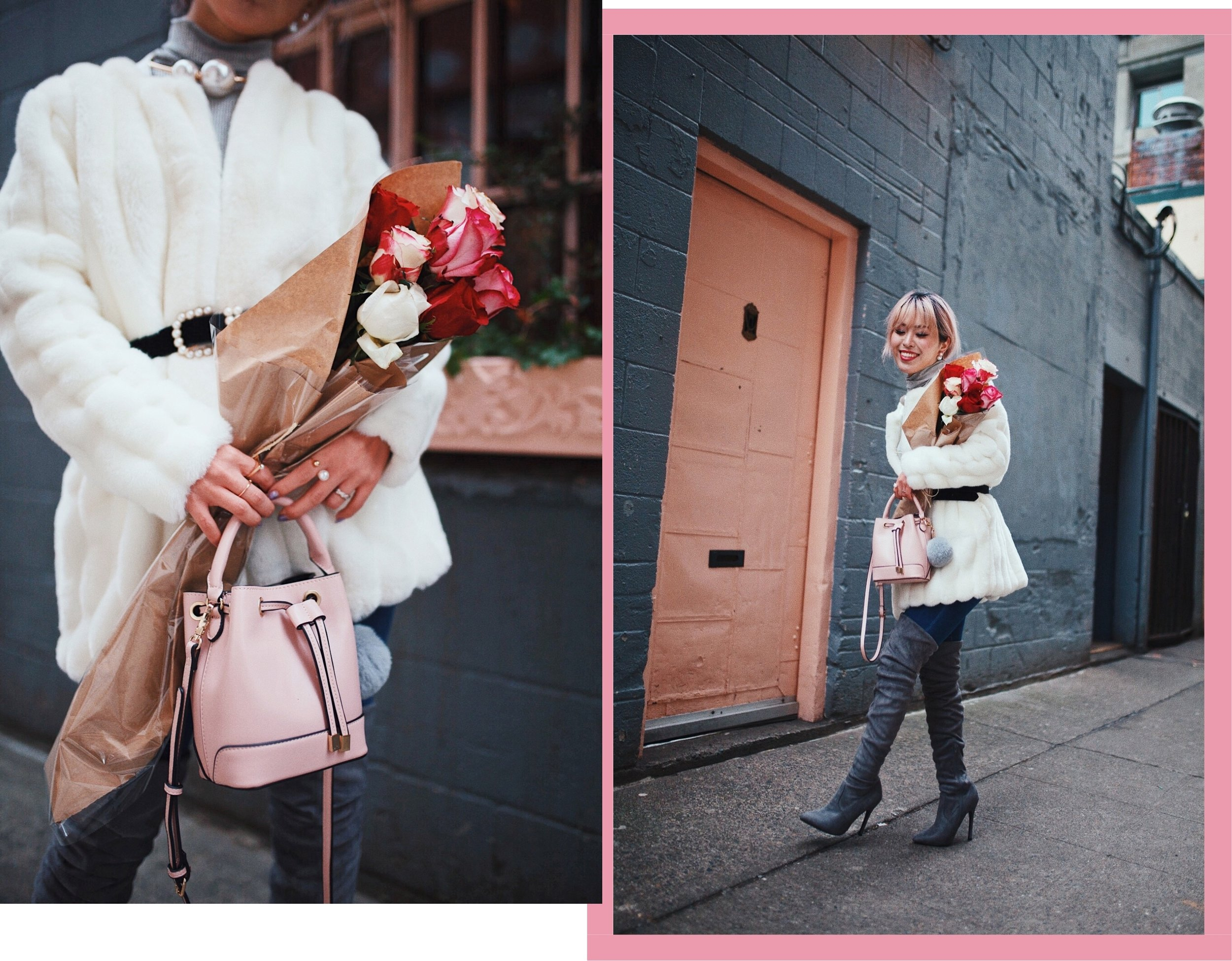 21F7A1B5-F890-4A60-8D03-B11CDEAF5545ab.jpgH&M Gray Turtleneck Sweater-ASOS high waisted skinny jean-EGO Grey Over the Knee Boots-While Faux Fur Coat-Forever 21 Pearl Belt & Pink Mini Basket Bag-Chanel Ribbon Hair-Valentine's Day-Rose bouquet-Pink Hair-Japanese-Seattle Style Fashion Blogger-AikA's Love Closet 7