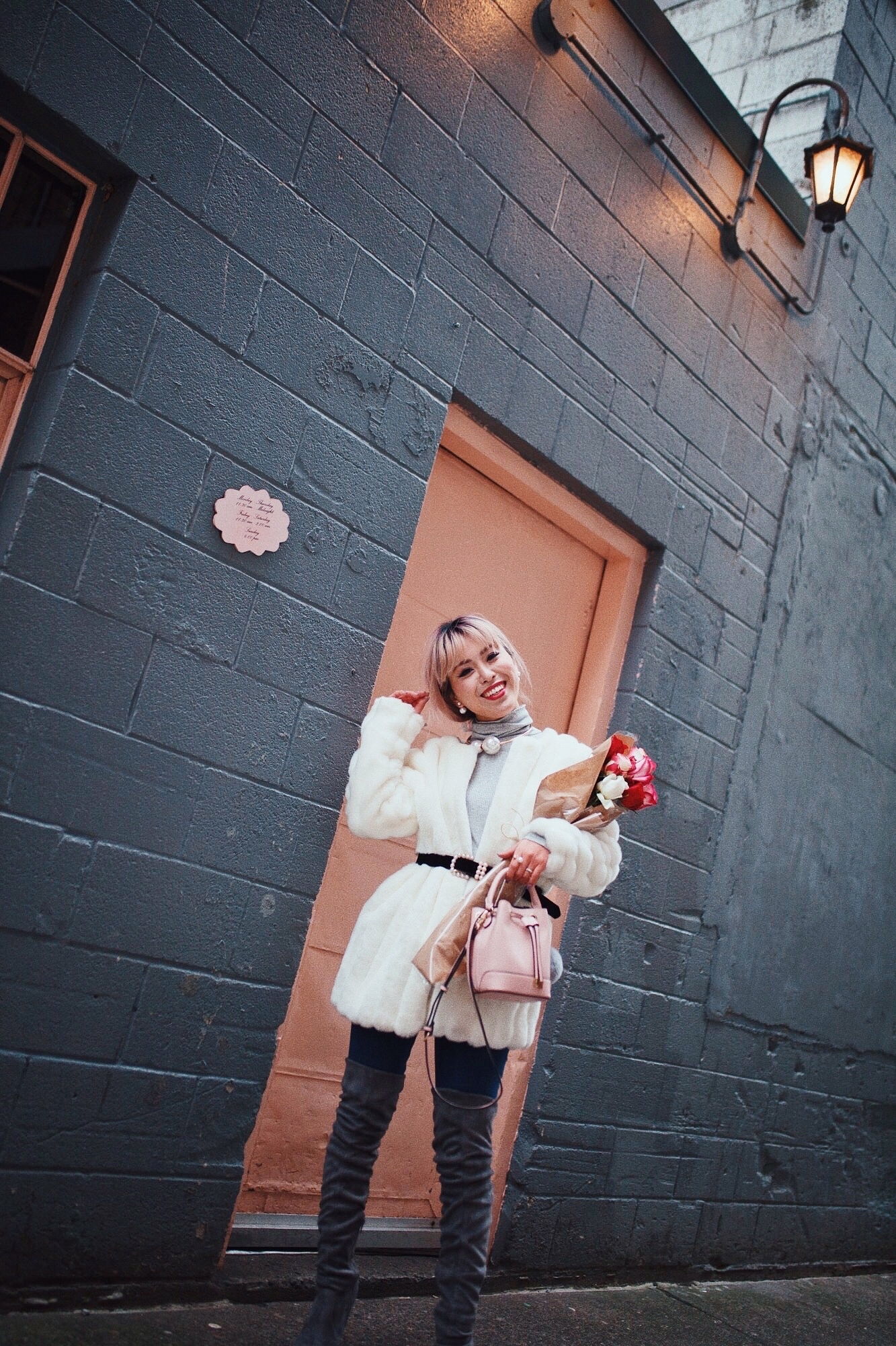 9D75F71B-4CEE-4B01-BDDF-C05FFE35378A.JPGH&M Gray Turtleneck Sweater-ASOS high waisted skinny jean-EGO Grey Over the Knee Boots-While Faux Fur Coat-Forever 21 Pearl Belt & Pink Mini Basket Bag-Chanel Ribbon Hair-Valentine's Day-Rose bouquet-Pink Hair-Japanese-Seattle Style Fashion Blogger-AikA's Love Closet 9