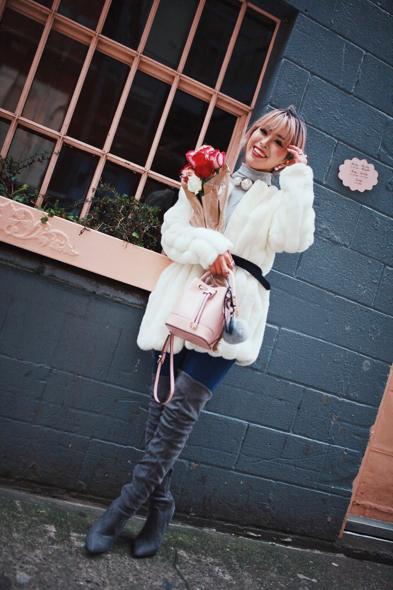 H&M Gray Turtleneck Sweater-ASOS high waisted skinny jean-EGO Grey Over the Knee Boots-While Faux Fur Coat-Forever 21 Pearl Belt & Pink Mini Basket Bag-Chanel Ribbon Hair-Valentine's Day-Rose bouquet-Pink Hair-Japanese-Seattle Style Fashion Blogger-AikA's Love Closet 12