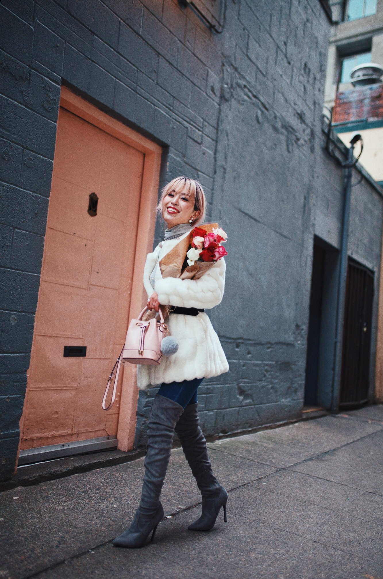 H&M Gray Turtleneck Sweater-ASOS high waisted skinny jean-EGO Grey Over the Knee Boots-While Faux Fur Coat-Forever 21 Pearl Belt & Pink Mini Basket Bag-Chanel Ribbon Hair-Valentine's Day-Rose bouquet-Pink Hair-Japanese-Seattle Style Fashion Blogger-AikA's Love Closet 13