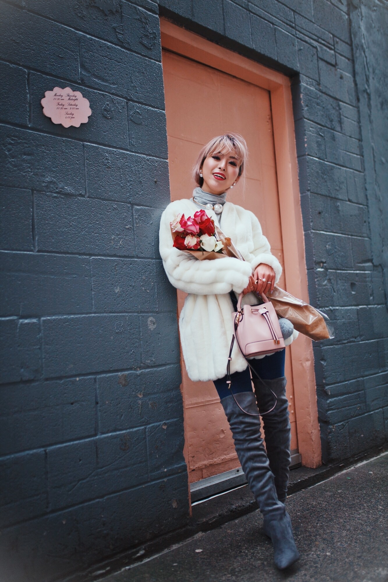 H&M Gray Turtleneck Sweater-ASOS high waisted skinny jean-EGO Grey Over the Knee Boots-While Faux Fur Coat-Forever 21 Pearl Belt & Pink Mini Basket Bag-Chanel Ribbon Hair-Valentine's Day-Rose bouquet-Pink Hair-Japanese-Seattle Style Fashion Blogger-AikA's Love Closet 15