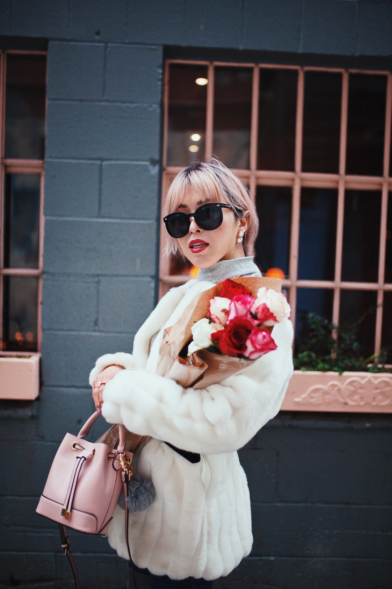 H&M Gray Turtleneck Sweater-ASOS high waisted skinny jean-EGO Grey Over the Knee Boots-While Faux Fur Coat-Forever 21 Pearl Belt & Pink Mini Basket Bag-Chanel Ribbon Hair-Valentine's Day-Rose bouquet-Pink Hair-Japanese-Seattle Style Fashion Blogger-AikA's Love Closet 18