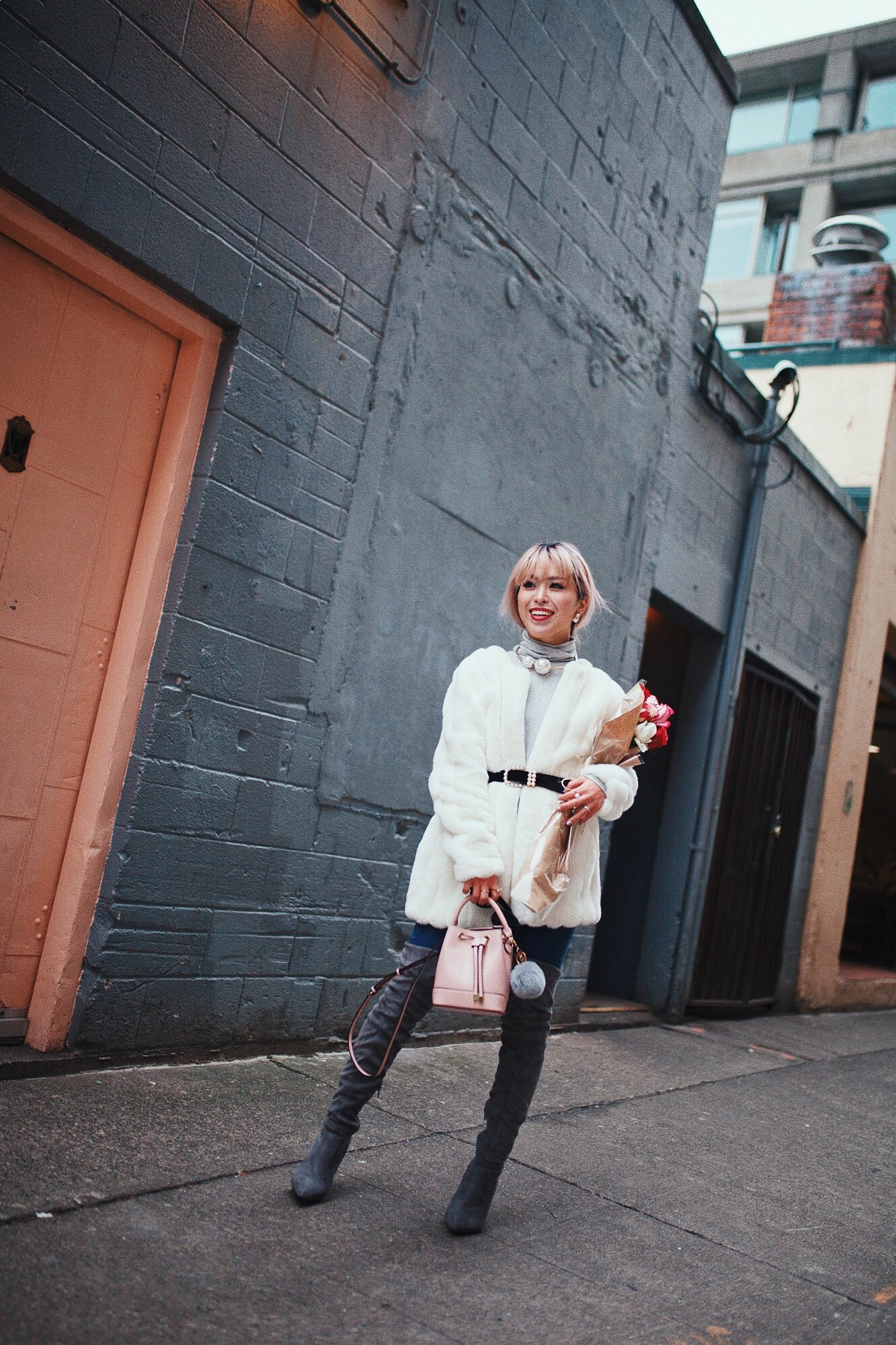 H&M Gray Turtleneck Sweater-ASOS high waisted skinny jean-EGO Grey Over the Knee Boots-While Faux Fur Coat-Forever 21 Pearl Belt & Pink Mini Basket Bag-Chanel Ribbon Hair-Valentine's Day-Rose bouquet-Pink Hair-Japanese-Seattle Style Fashion Blogger-AikA's Love Closet 22