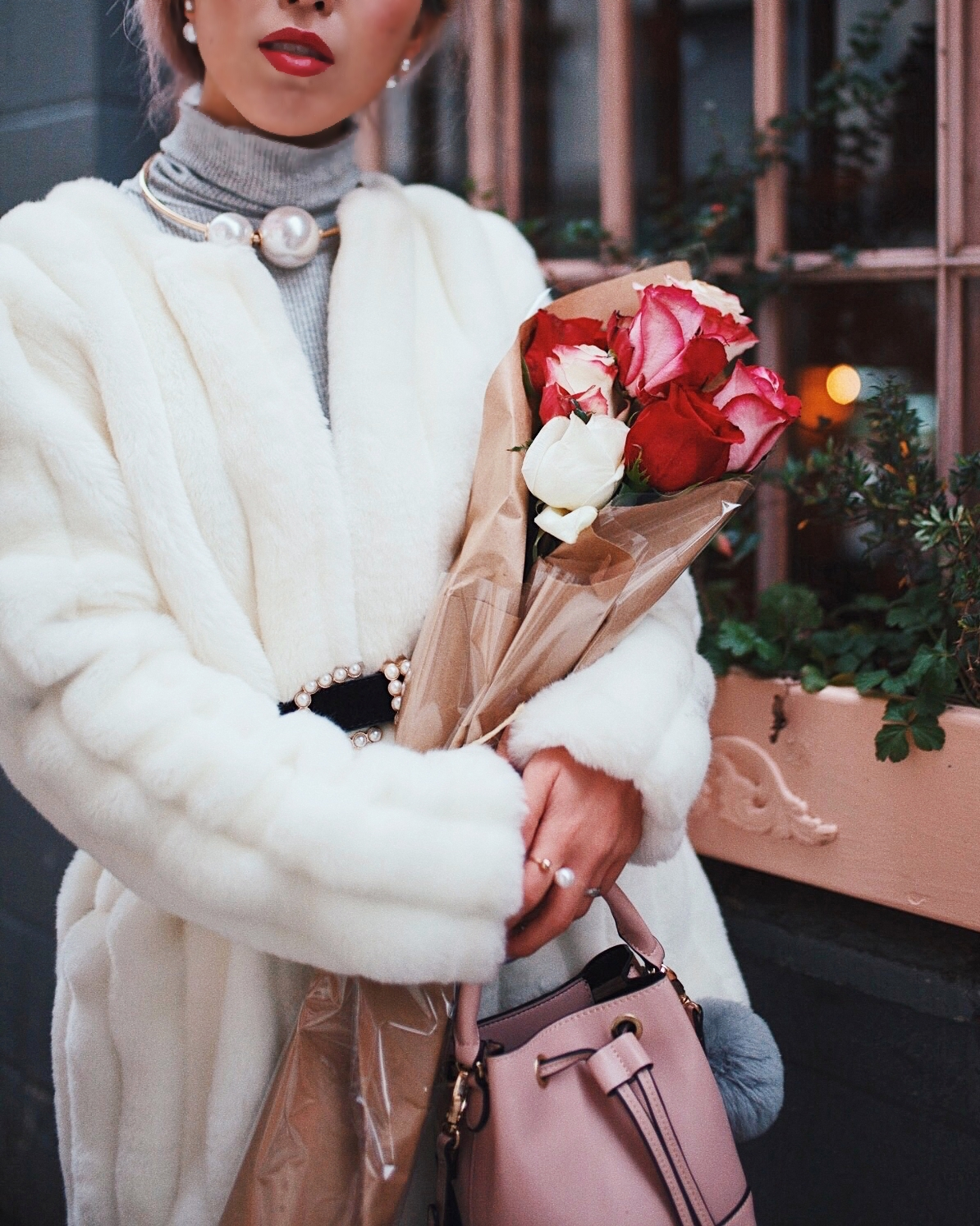 H&M Gray Turtleneck Sweater-ASOS high waisted skinny jean-EGO Grey Over the Knee Boots-While Faux Fur Coat-Forever 21 Pearl Belt & Pink Mini Basket Bag-Chanel Ribbon Hair-Valentine's Day-Rose bouquet-Pink Hair-Japanese-Seattle Style Fashion Blogger-AikA's Love Closet 23