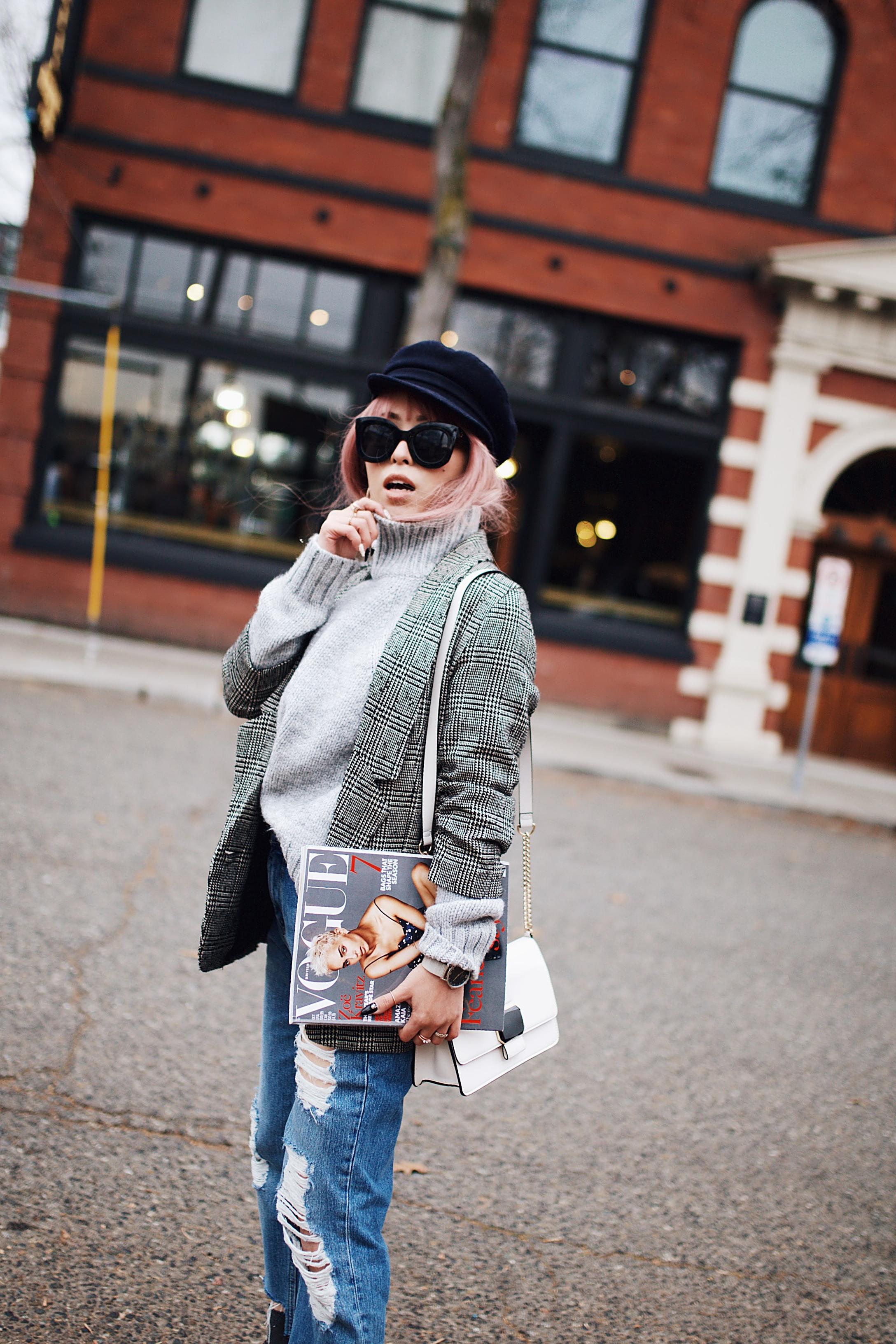Zara Gray Turtleneck Sweater-Nordstrom Checked Blazer-ASOS Distressed frayed hem jeans-NAIGAI Glitter Ankle Socks-Black scrappy sandals-H&M White Crossbody Bag-Aritzia Fisherman Hat-Aika's Love Closet-Seattle fashion style blogger-pink hair-Japanese 4