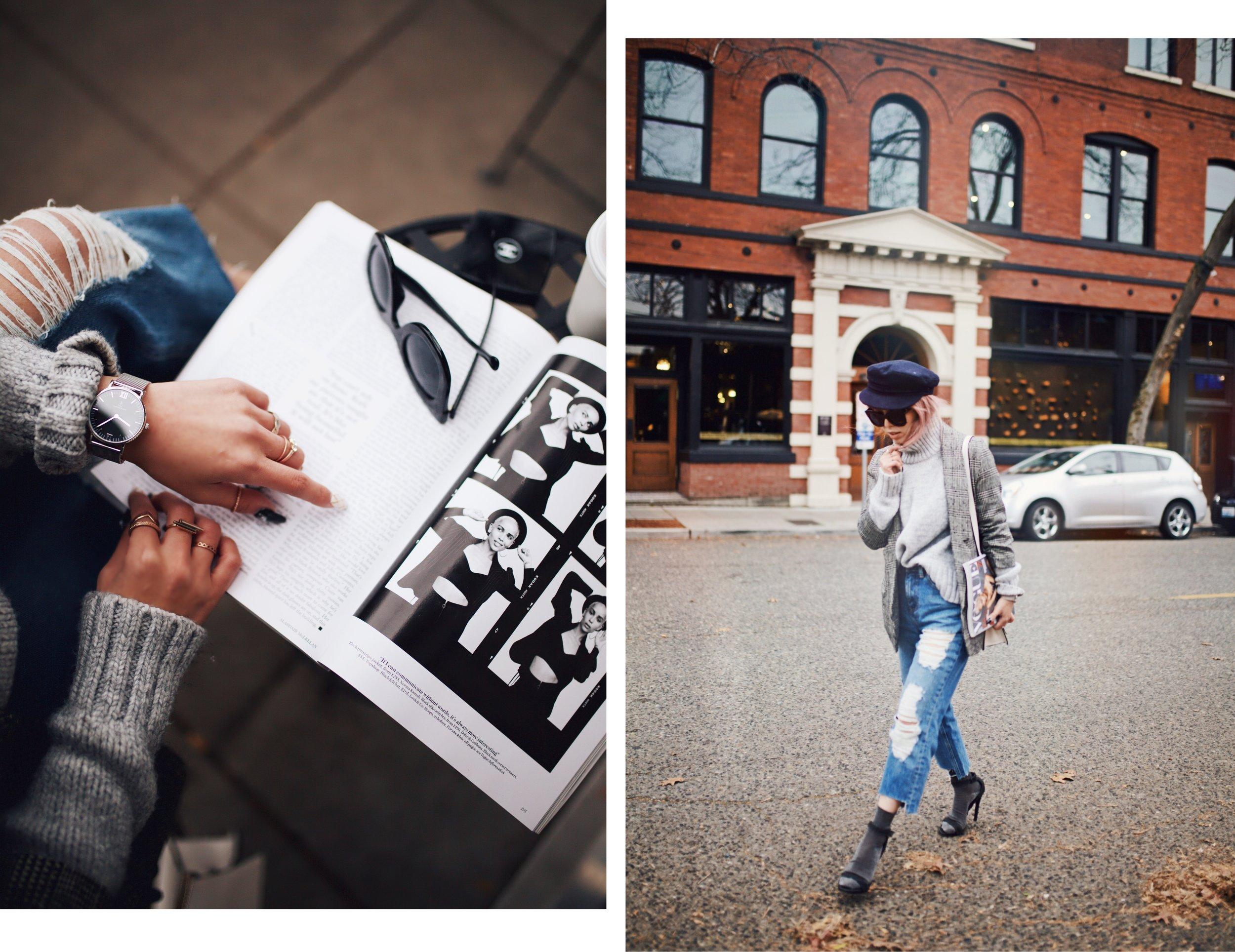 Zara Gray Turtleneck Sweater-Nordstrom Checked Blazer-ASOS Distressed frayed hem jeans-NAIGAI Glitter Ankle Socks-Black scrappy sandals-H&M White Crossbody Bag-Aritzia Fisherman Hat-Aika's Love Closet-Seattle fashion style blogger-pink hair-Japanese 5