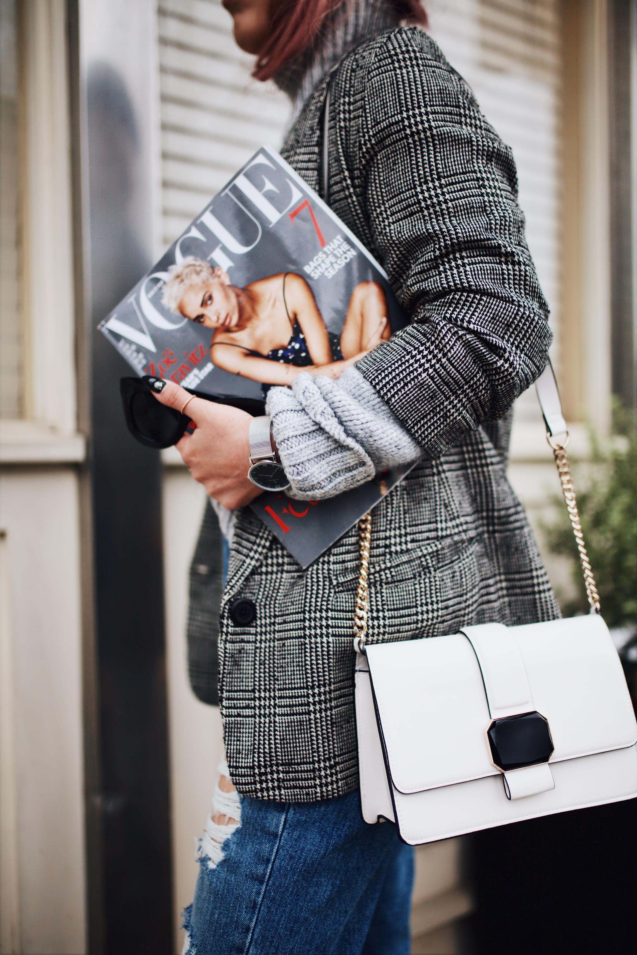 Kapten and Son watch-Zara Gray Turtleneck Sweater-Nordstrom Checked Blazer-ASOS Distressed frayed hem jeans-NAIGAI Glitter Ankle Socks-Black scrappy sandals-H&M White Crossbody Bag-Aritzia Fisherman Hat-Aika's Love Closet-Seattle fashion style blogger-pink hair-Japanese 2