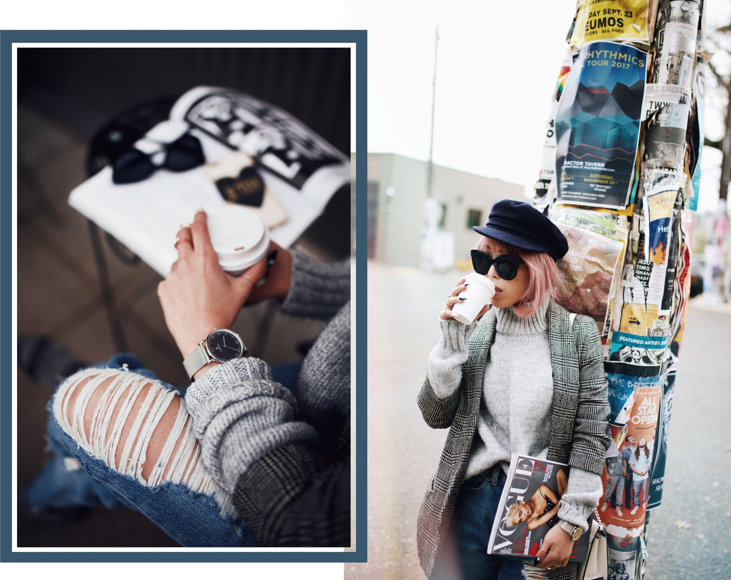 Kapten and Son watch-Zara Gray Turtleneck Sweater-Nordstrom Checked Blazer-ASOS Distressed frayed hem jeans-NAIGAI Glitter Ankle Socks-Black scrappy sandals-H&M White Crossbody Bag-Aritzia Fisherman Hat-Aika's Love Closet-Seattle fashion style blogger-pink hair-Japanese7
