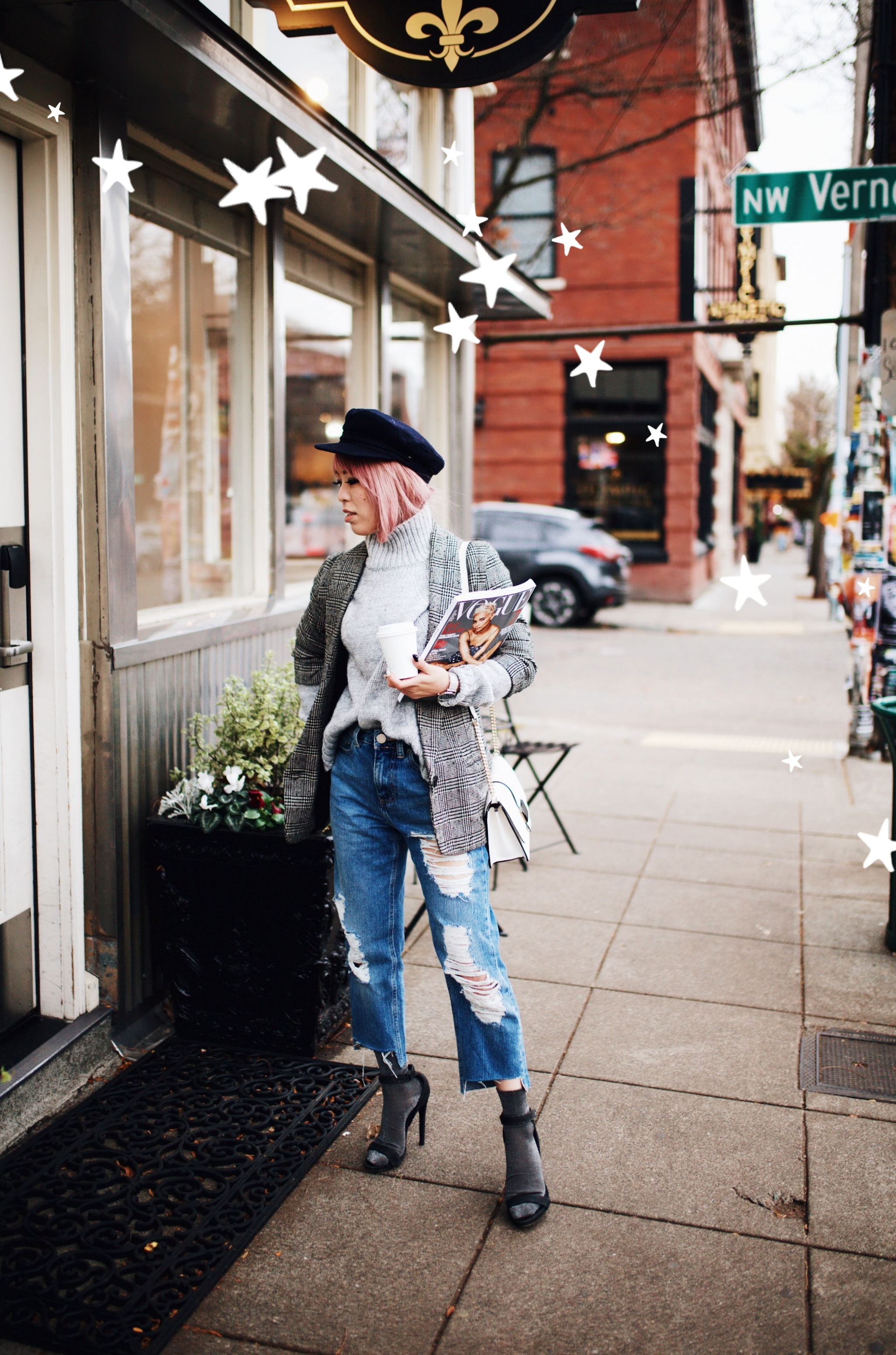 Kapten and Son watch-Zara Gray Turtleneck Sweater-Nordstrom Checked Blazer-ASOS Distressed frayed hem jeans-NAIGAI Glitter Ankle Socks-Black scrappy sandals-H&M White Crossbody Bag-Aritzia Fisherman Hat-Aika's Love Closet-Seattle fashion style blogger-pink hair-Japanese 10