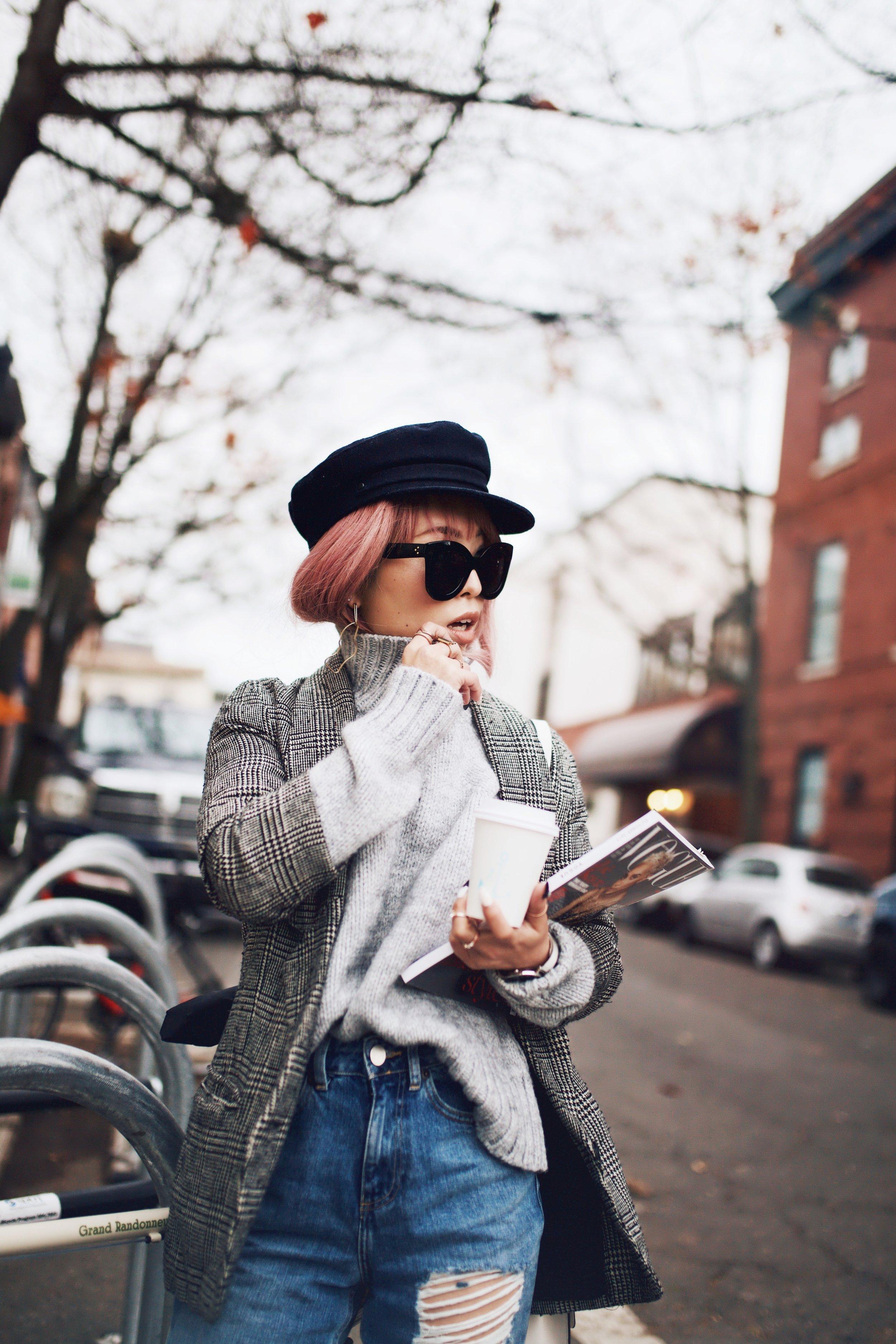 Kapten and Son watch-Zara Gray Turtleneck Sweater-Nordstrom Checked Blazer-ASOS Distressed frayed hem jeans-NAIGAI Glitter Ankle Socks-Black scrappy sandals-H&M White Crossbody Bag-Aritzia Fisherman Hat-Aika's Love Closet-Seattle fashion style blogger-pink hair-Japanese 11