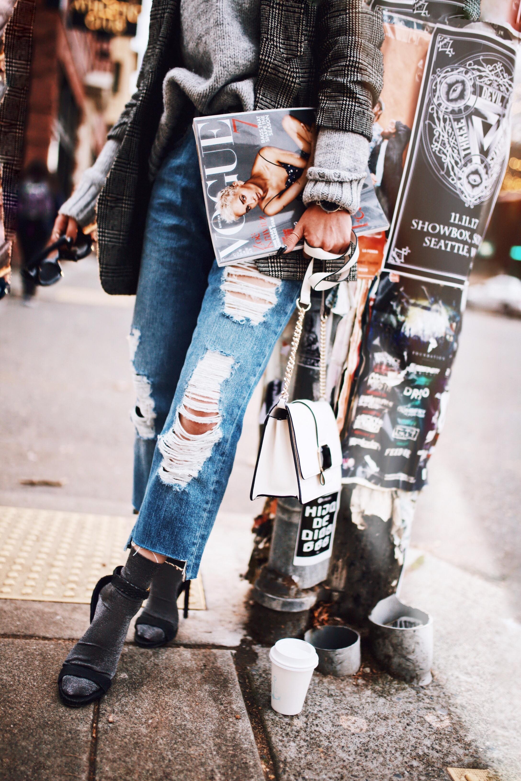 Kapten and Son watch-Zara Gray Turtleneck Sweater-Nordstrom Checked Blazer-ASOS Distressed frayed hem jeans-NAIGAI Glitter Ankle Socks-Black scrappy sandals-H&M White Crossbody Bag-Aritzia Fisherman Hat-Aika's Love Closet-Seattle fashion style blogger-pink hair-Japanese 15
